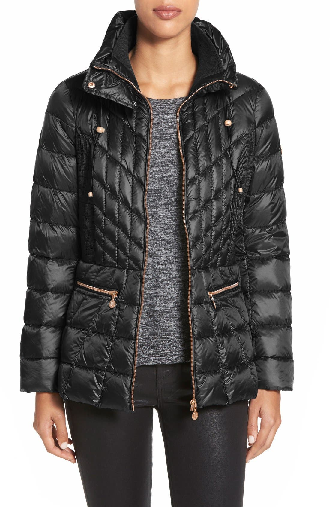 Packable Jacket with Down & PrimaLoft<sup>®</sup> Fill,                             Main thumbnail 1, color,                             Opera Black