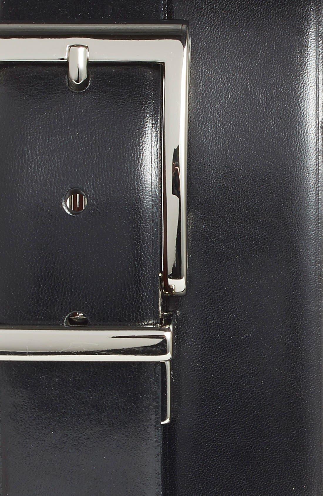 Reversible Leather Belt,                             Alternate thumbnail 3, color,                             Black/ Tan Avenue