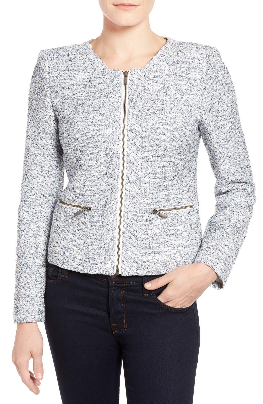Alternate Image 4  - Halogen® Zip Front Collarless Jacket (Regular & Petite)