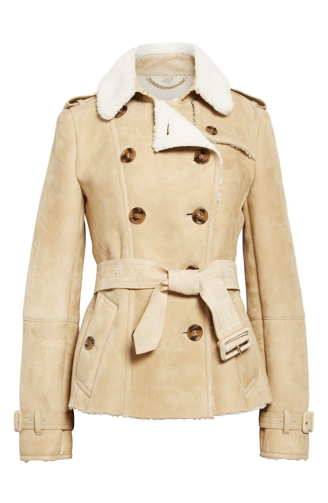Alternate Image 4  - Burberry London 'Sandringham' Short Genuine Shearling Trench Coat
