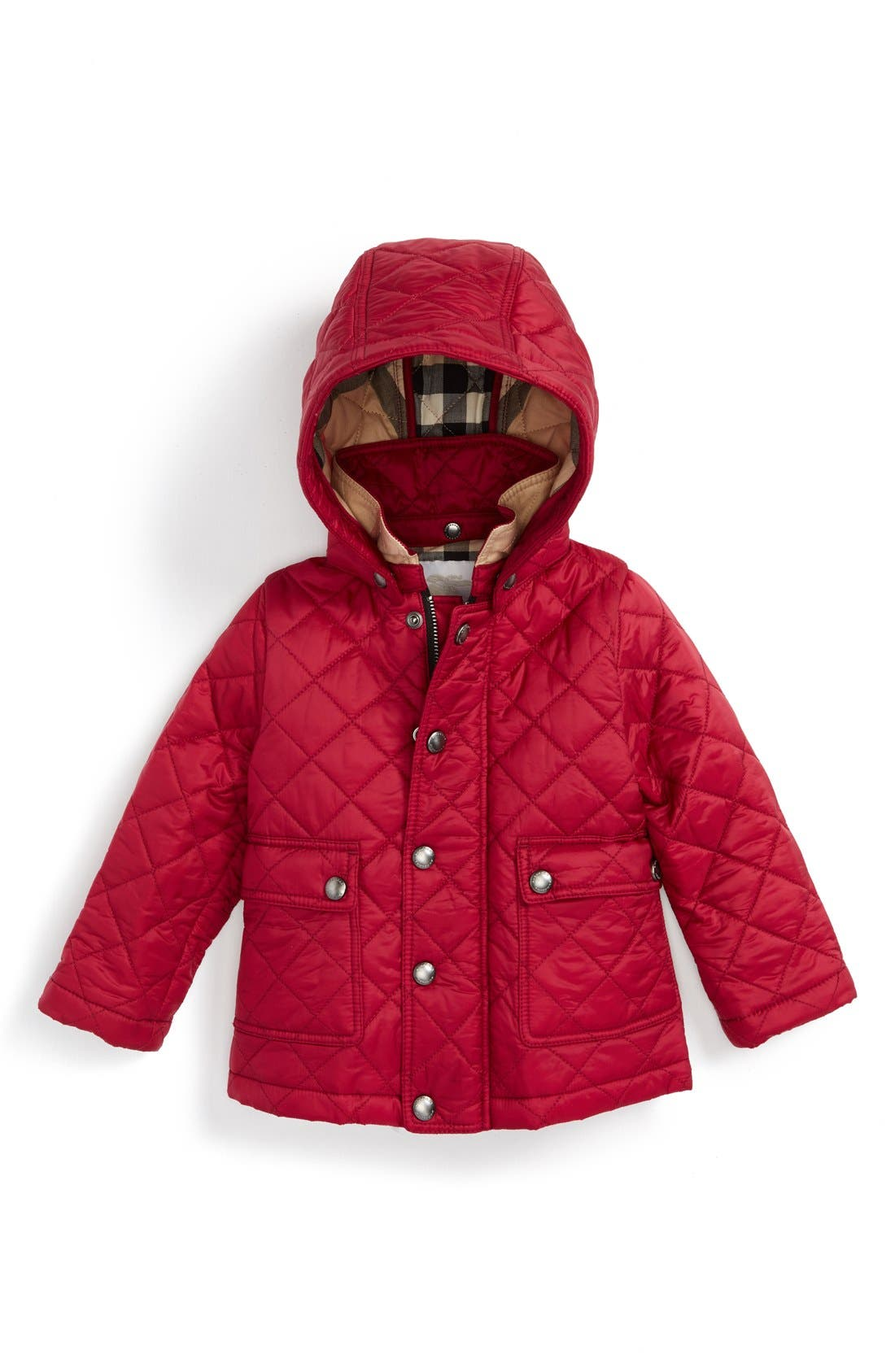 Alternate Image 1 Selected - Burberry 'Jamie' Quilted Hooded Puffer Jacket (Baby Girls)