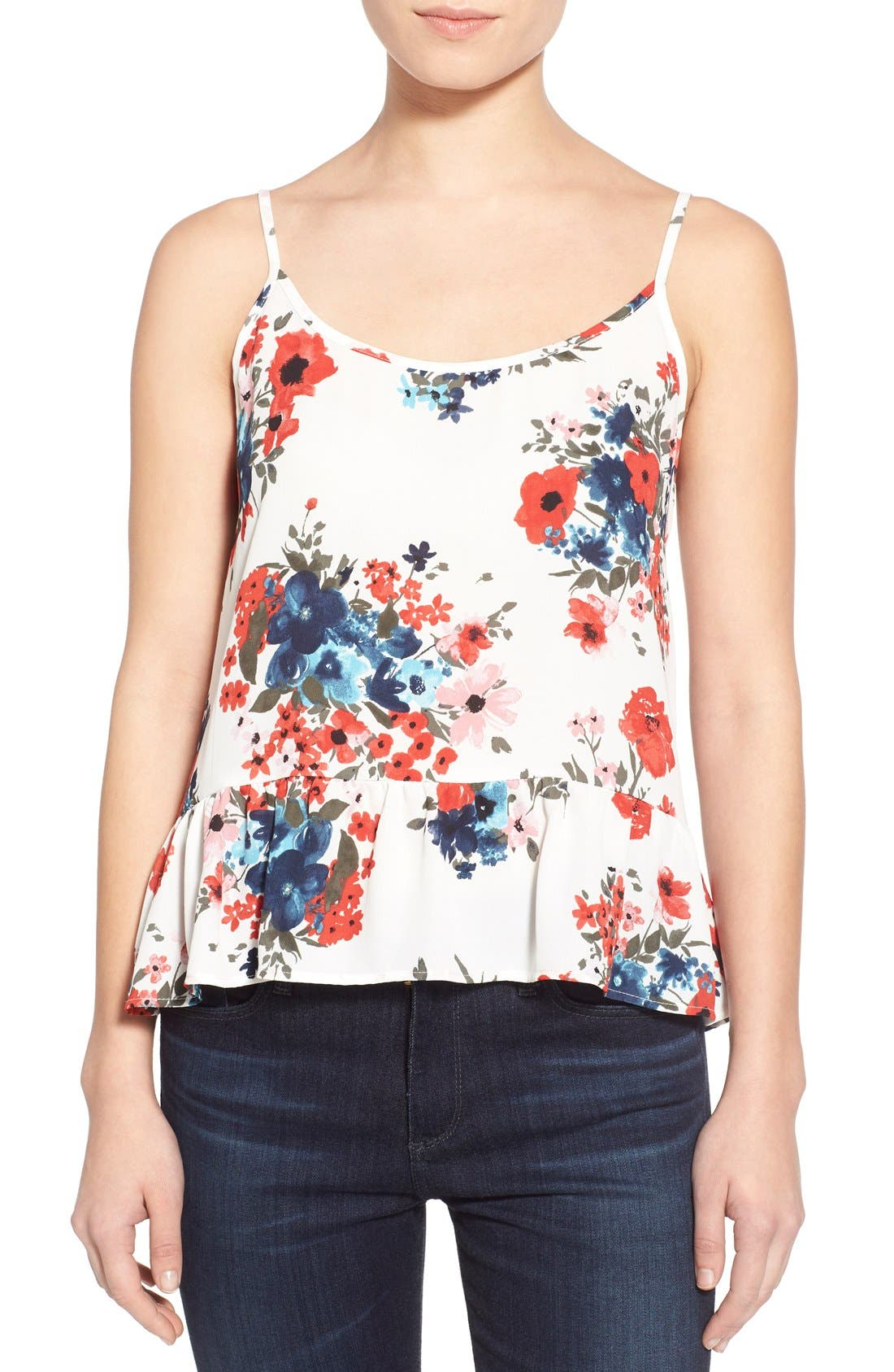 Main Image - cupcakes and cashmere 'Blushing Floral' Peplum Tank