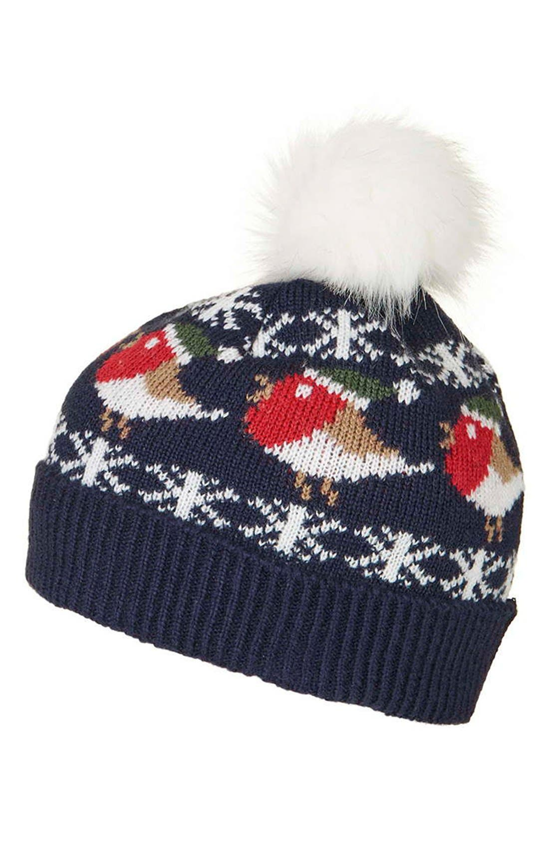 Alternate Image 3  - Topshop Robin Beanie with Faux Fur Pompom