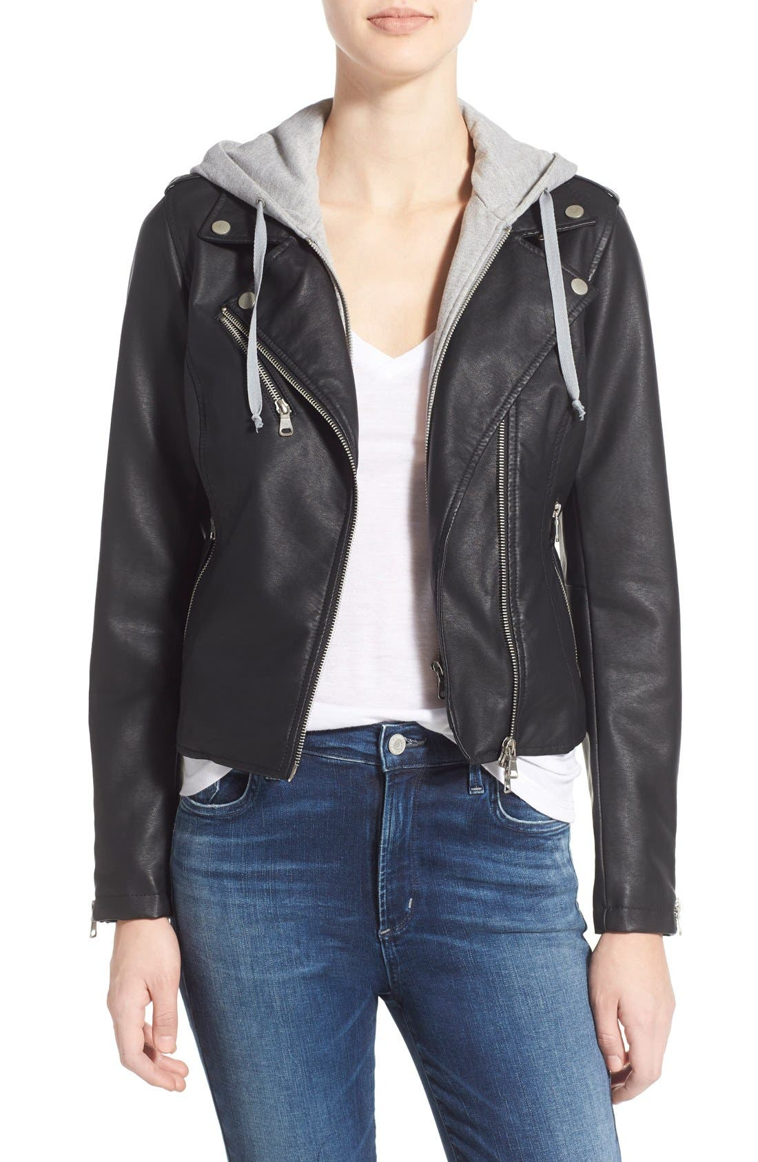 Alternate Image 1 Selected - Thread & Supply 'Eclipse' Hooded Faux Leather Jacket