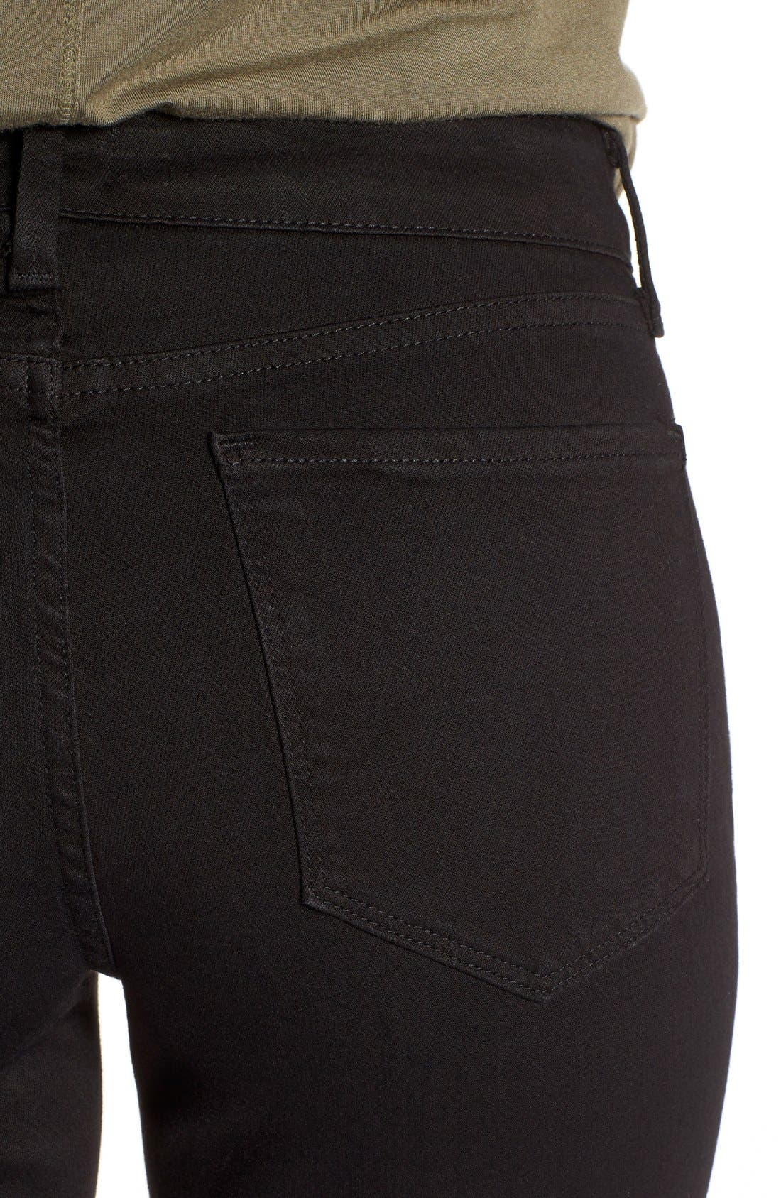 'Clarissa' Stretch Ankle Skinny Jeans,                             Alternate thumbnail 4, color,                             Black Garment Wash