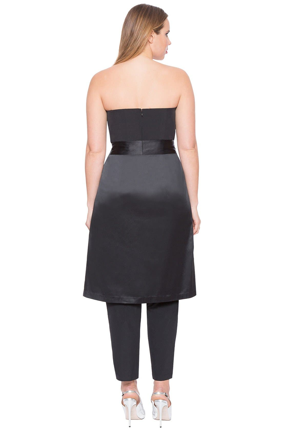 Alternate Image 2  - ELOQUII Strapless Jumpsuit with Detachable Skirt (Plus Size)