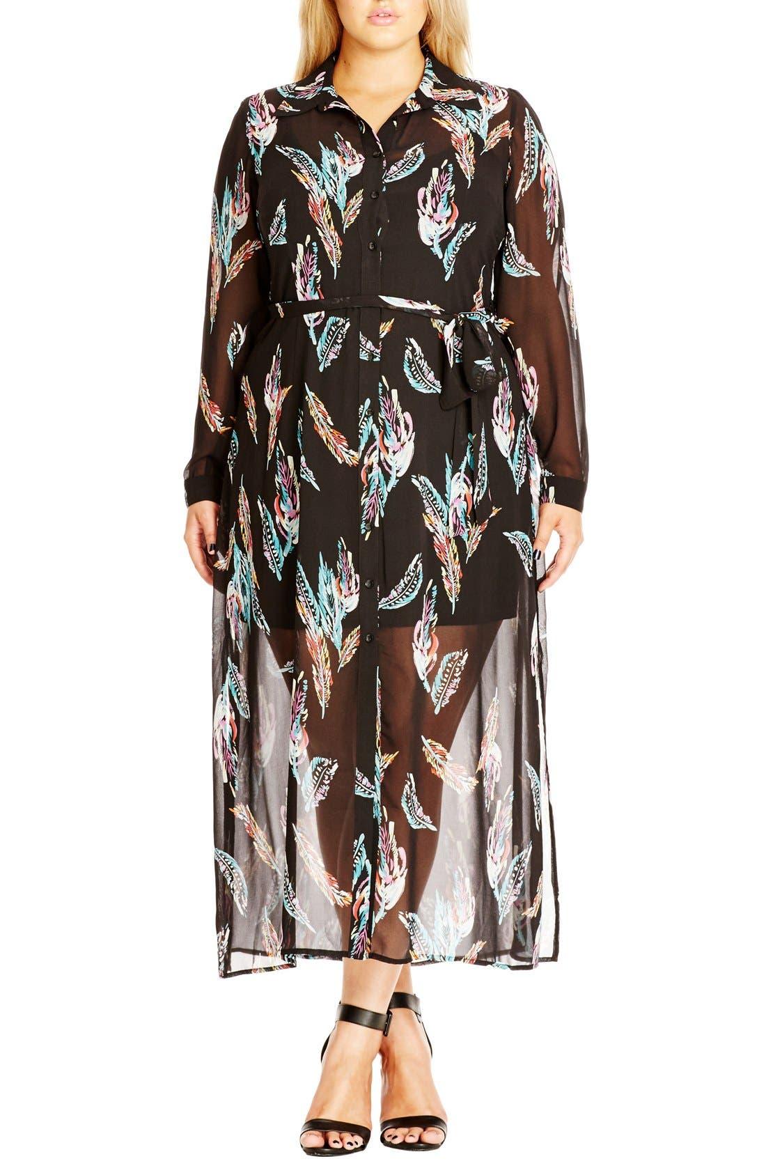 'Longline Lady' Maxi Shirtdress,                         Main,                         color, Feather Print