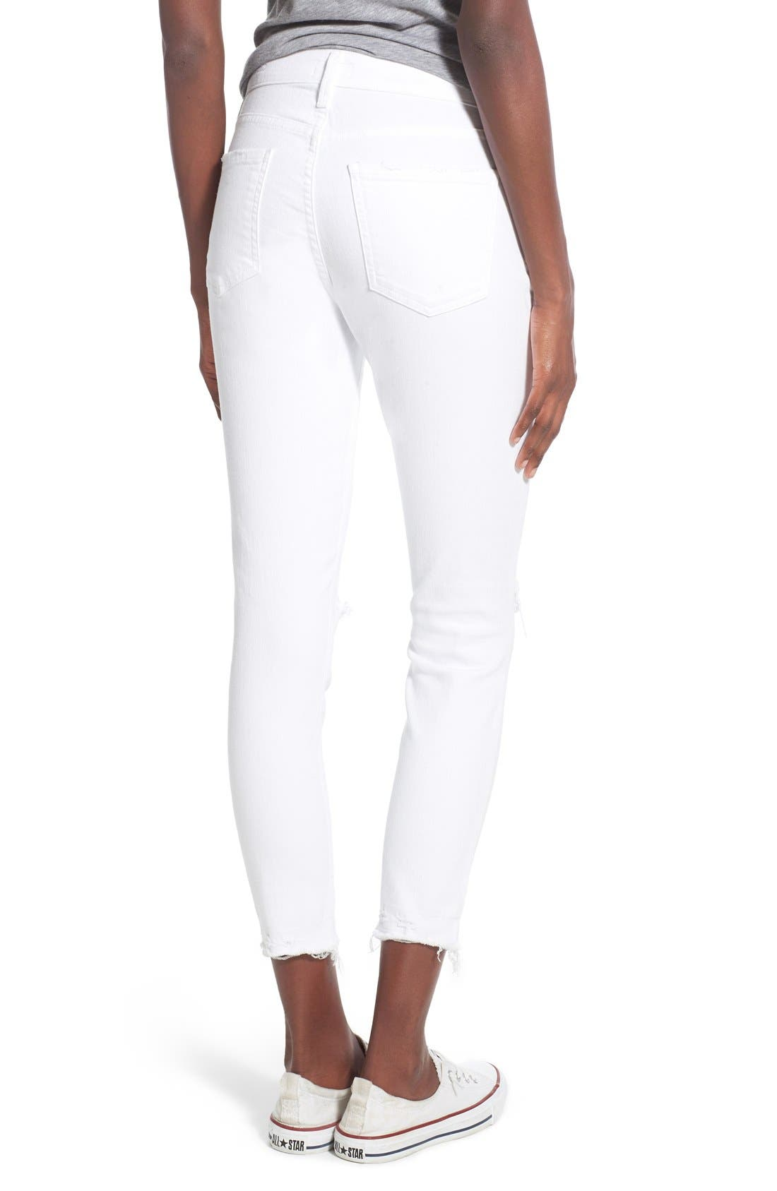 Alternate Image 2  - A Gold E 'Sophie' Distressed Crop Skinny Jeans (Off Spring)