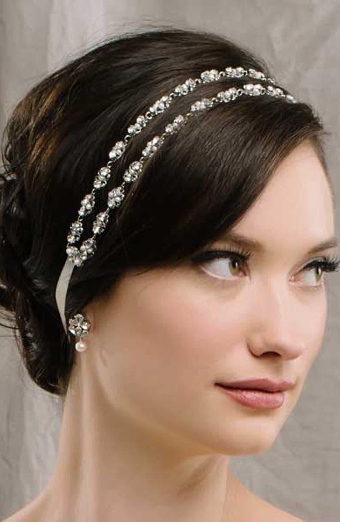 'Rose' Two Strand Filigree Hair Ribbon,                         Main,                         color, Pale Ivory