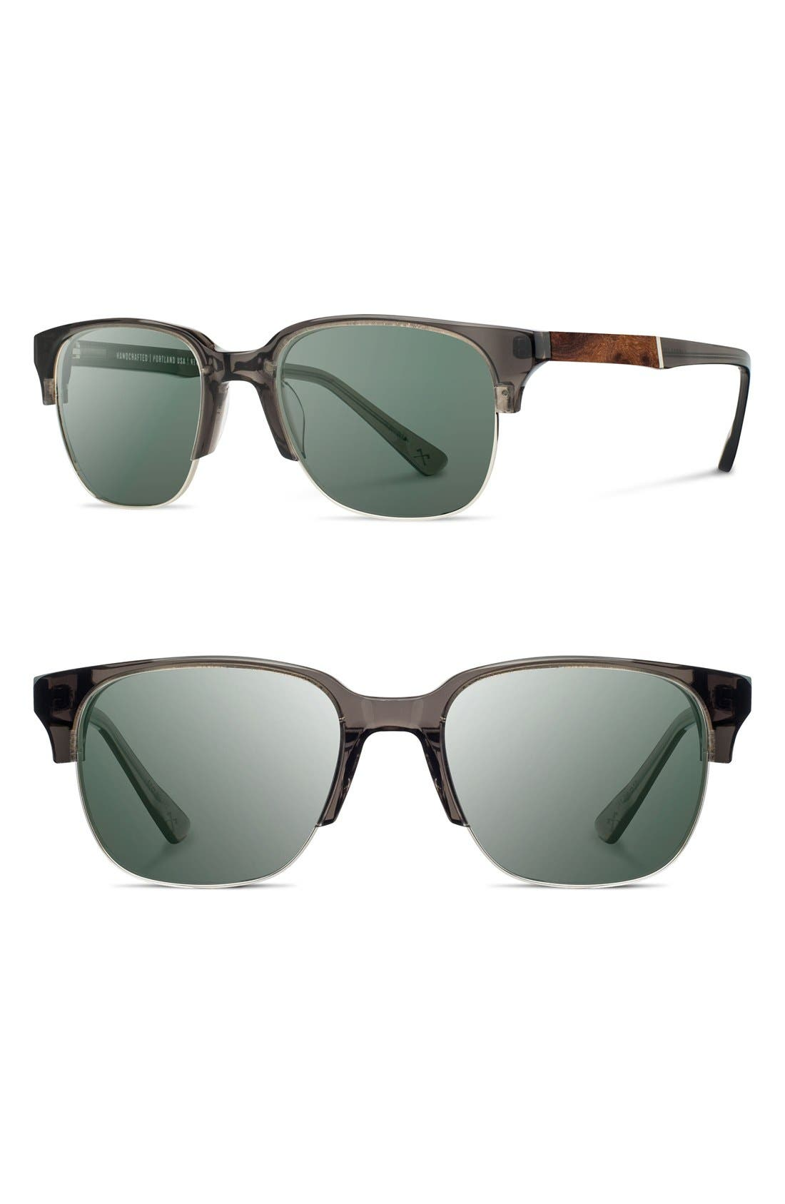 'Newport' Sunglasses,                         Main,                         color, Charcoal/ Elm Burl/ Grey