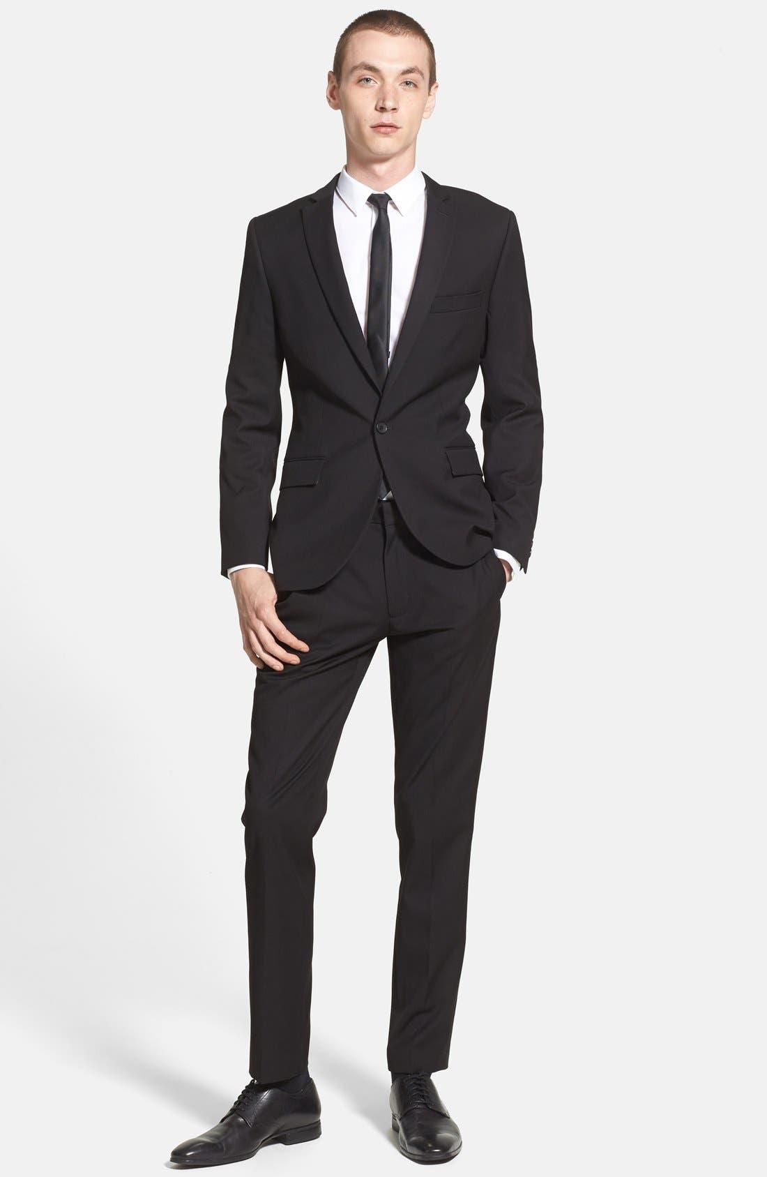 Alternate Image 4  - Topman Black Textured Skinny Fit Suit Jacket