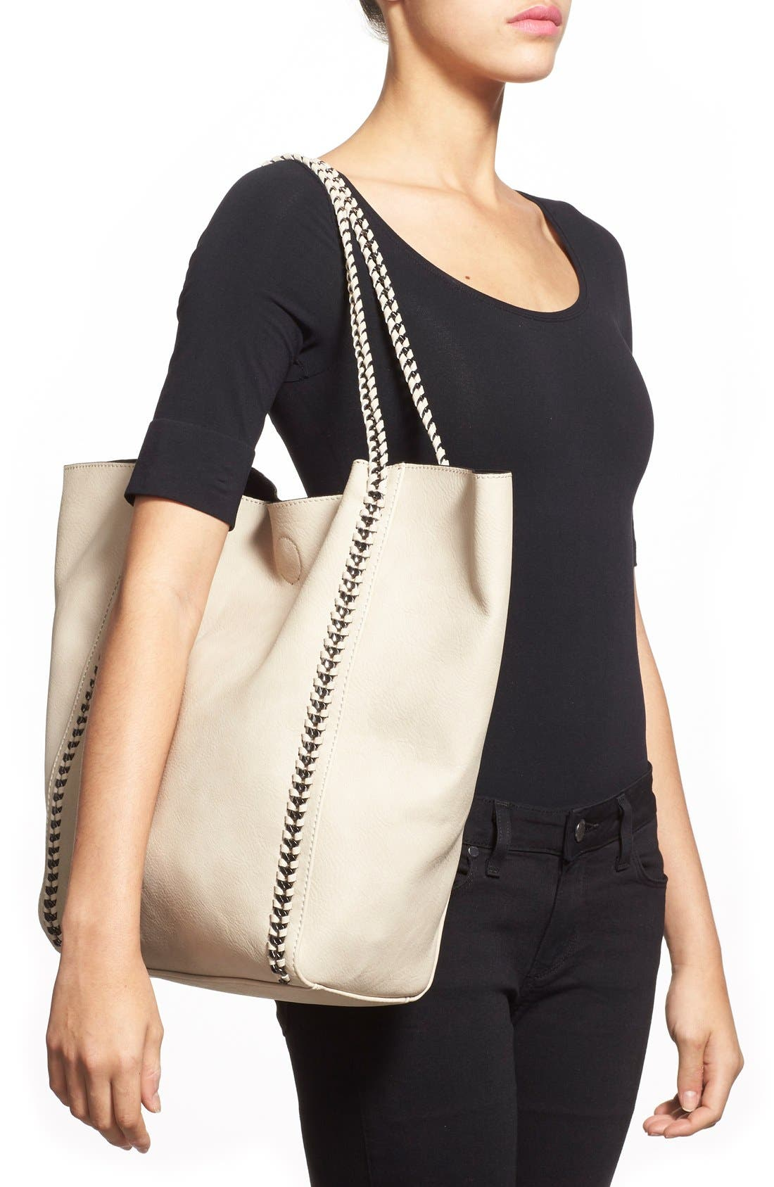 Chain Faux Leather Tote,                             Alternate thumbnail 2, color,                             Tan Greige