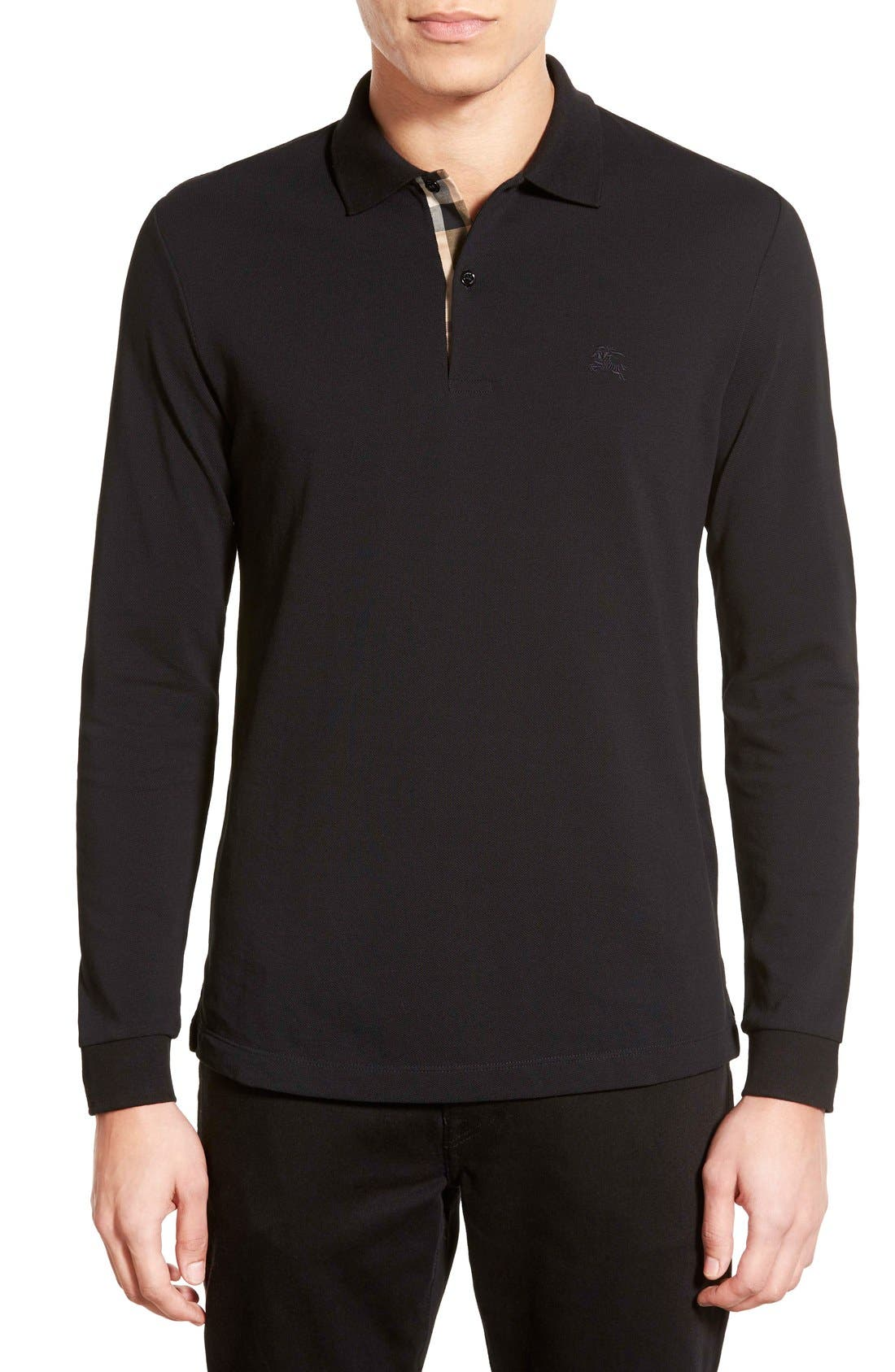 Brit 'Oxford' Long Sleeve Polo,                             Main thumbnail 1, color,                             Black