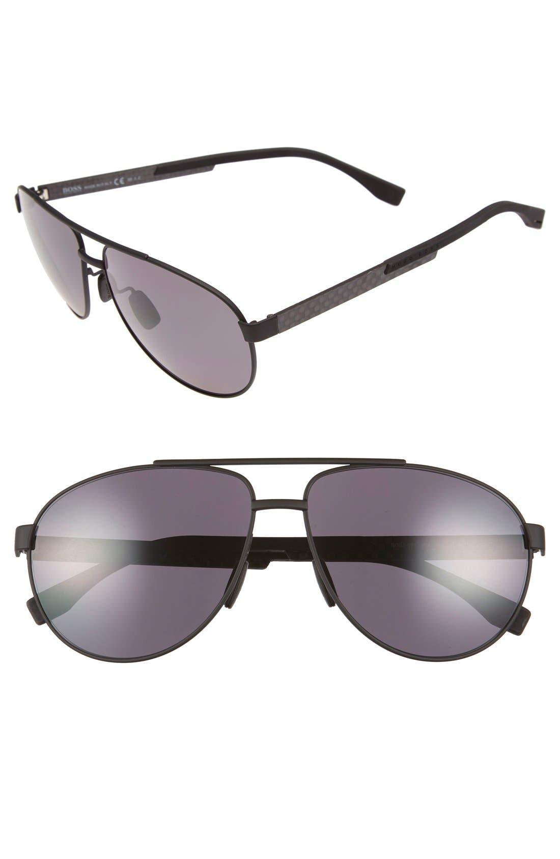 63mm Polarized Sunglasses,                         Main,                         color, Black Carbon/ Smoke Polarized