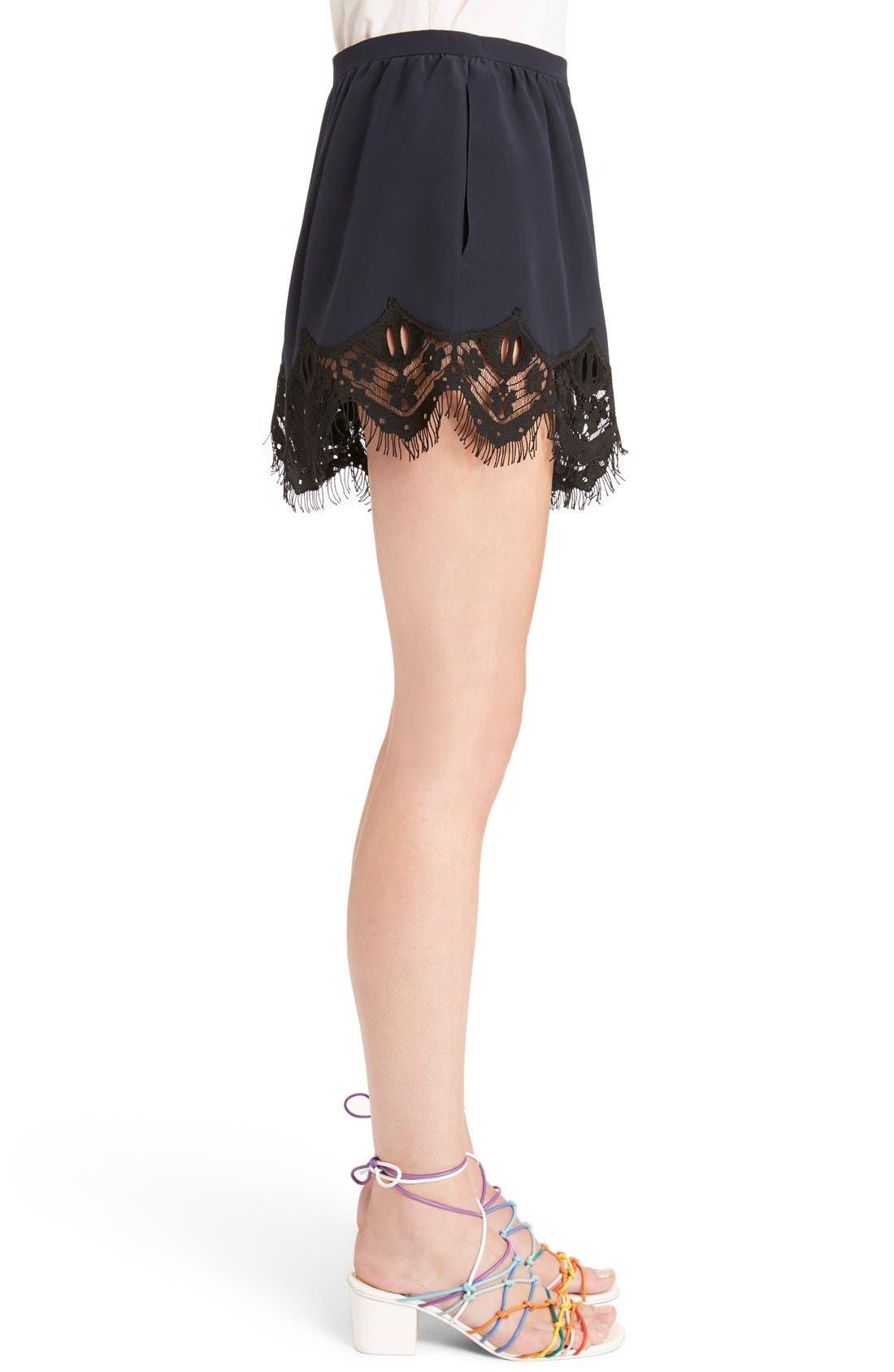 Alternate Image 5  - Chloé Fringed Floral Lace Trim Silk Shorts