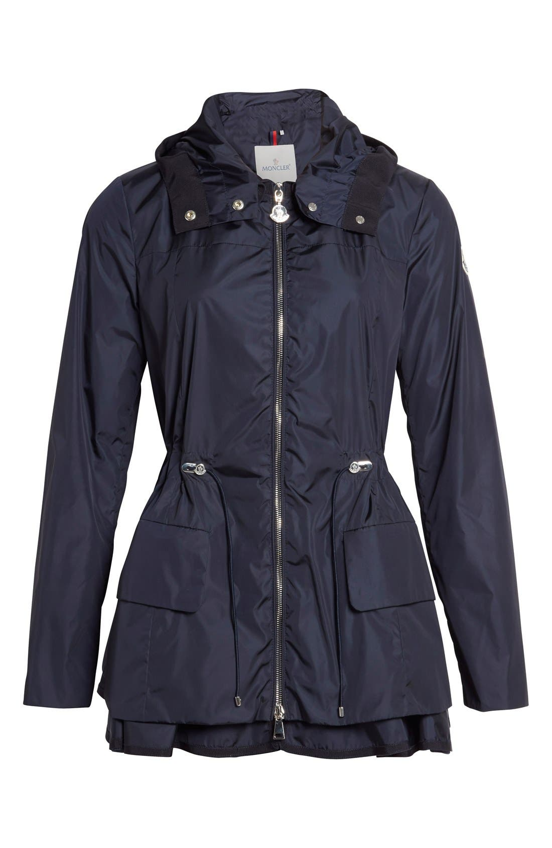 Alternate Image 4  - Moncler 'Limbert' Water Resistant Peplum Hem Hooded Rain Jacket