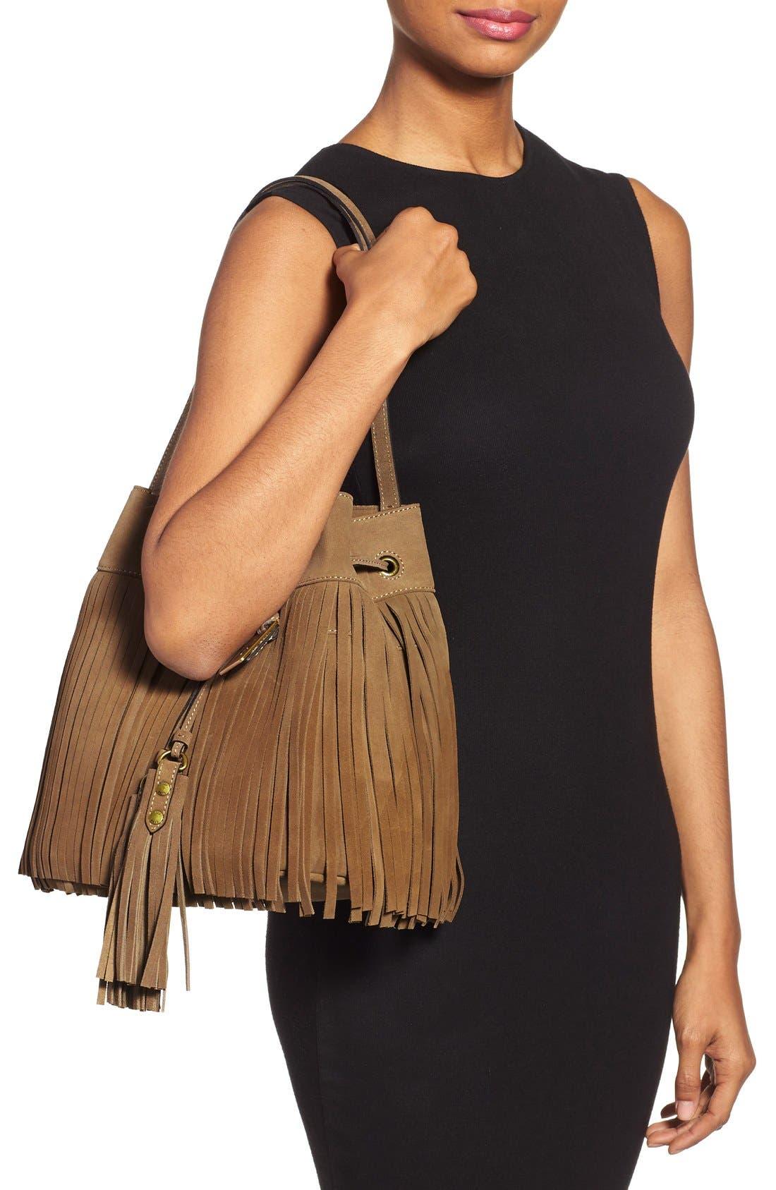'Heidi' Fringe Suede Bucket Bag,                             Alternate thumbnail 2, color,                             Grey