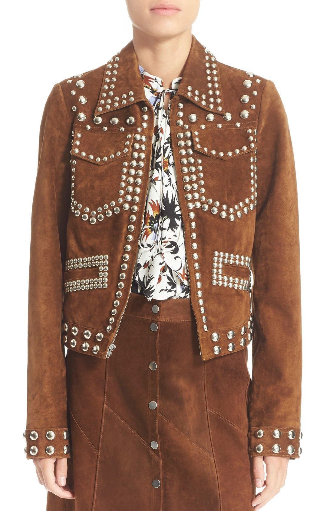 'Blaine' Studded Suede Jacket,                             Main thumbnail 1, color,                             Tobacco