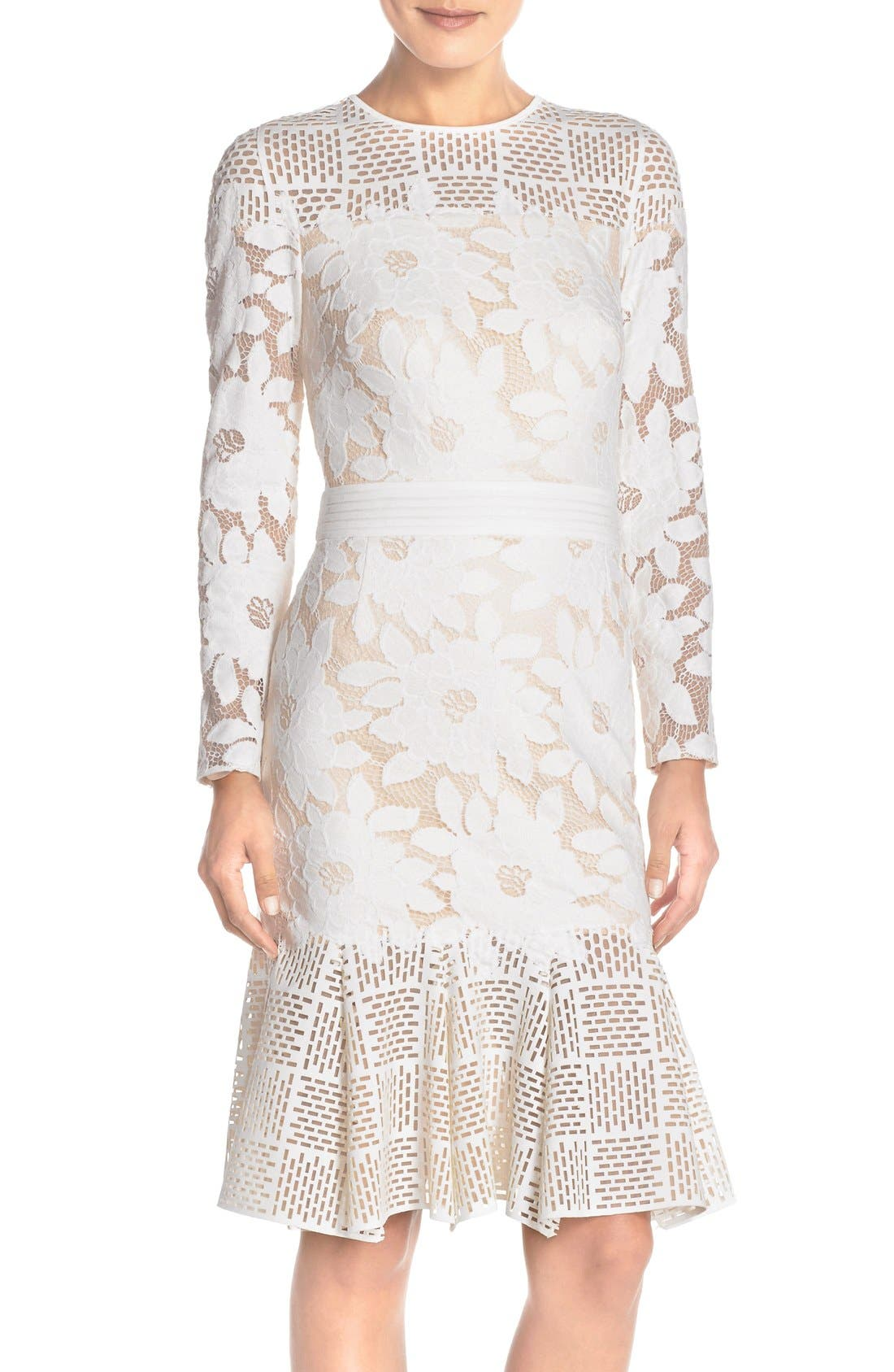 Lace & Cutout Neoprene Sheath Dress,                         Main,                         color, Ivory/ Primrose