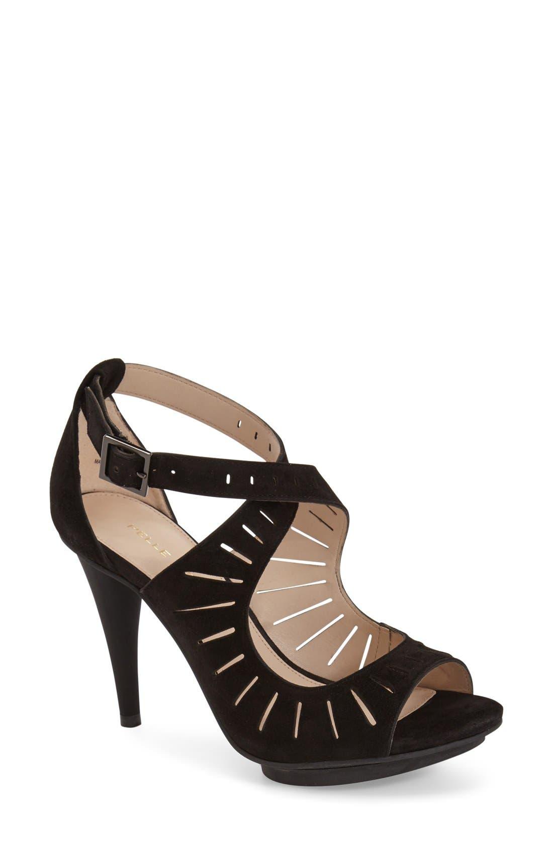 'Menlo' Cutout Sandal,                             Main thumbnail 1, color,                             Black Suede