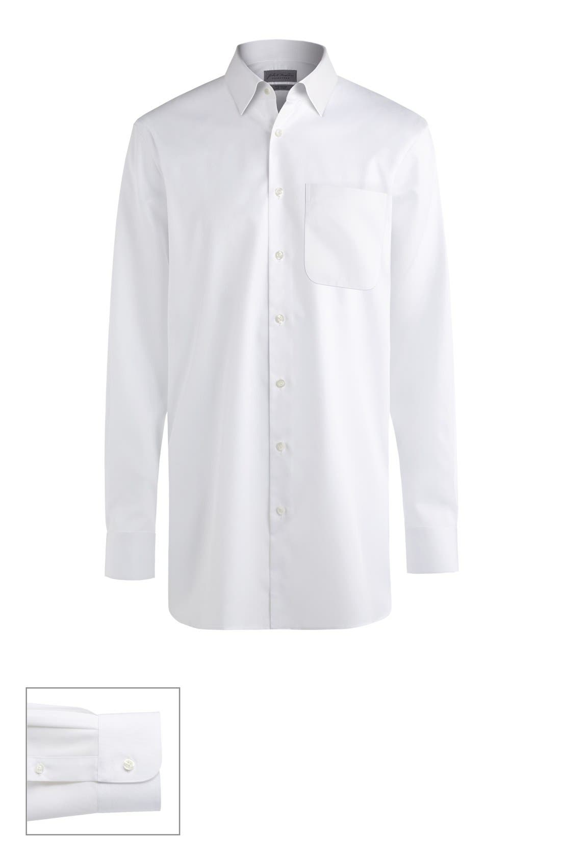 Made to Measure Extra Trim Fit Straight Collar Solid Dress Shirt,                         Main,                         color, White Fine Twill