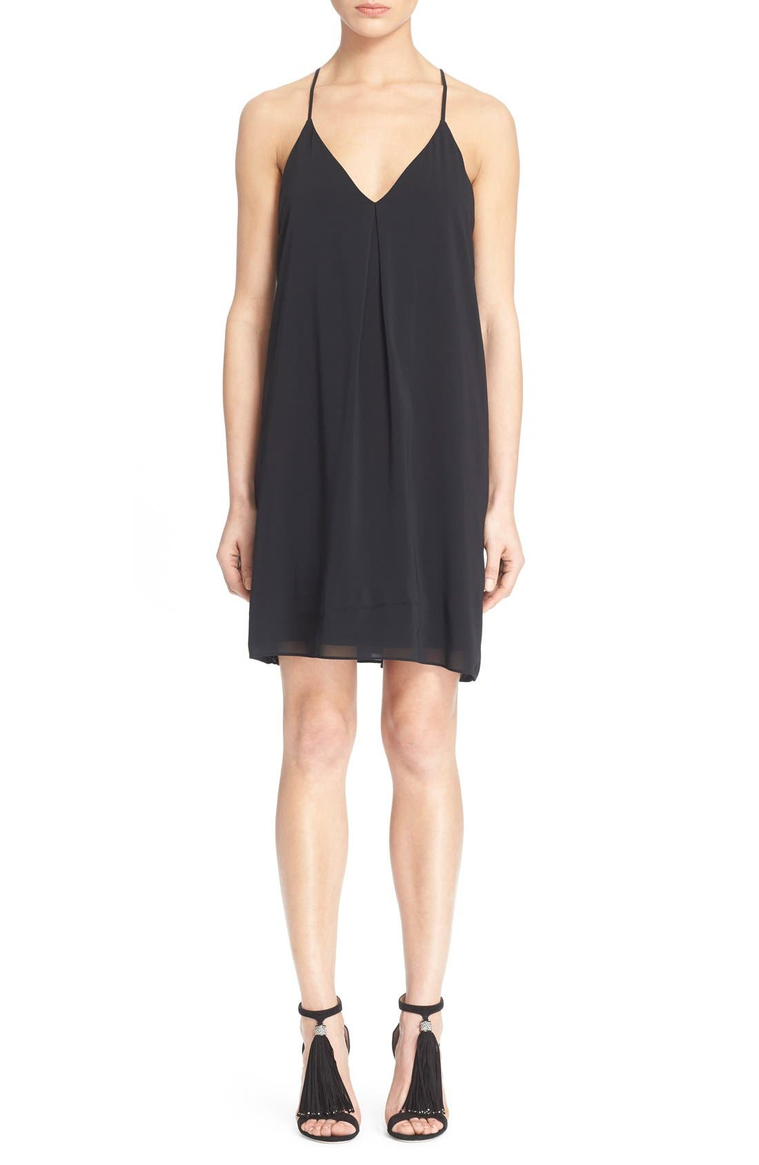 Fierra Stretch Silk Slipdress,                         Main,                         color, Black
