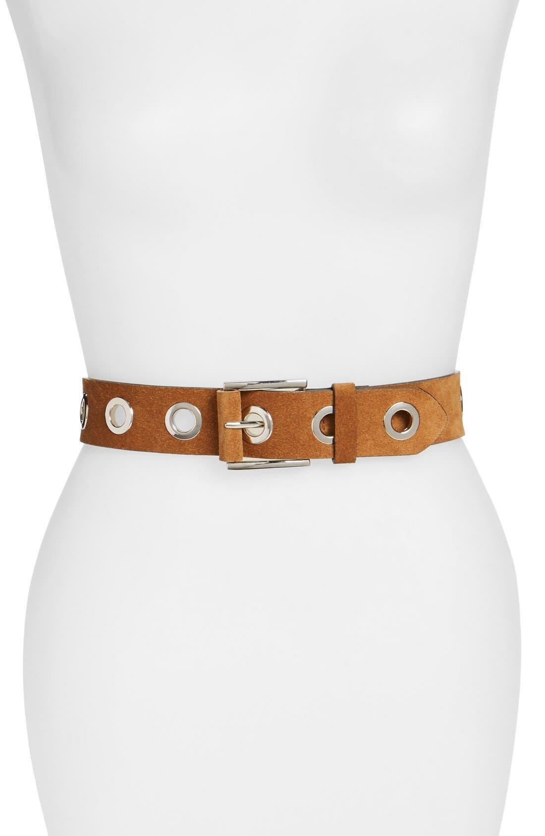 Hinge Grommeted Belt,                         Main,                         color, Cognac