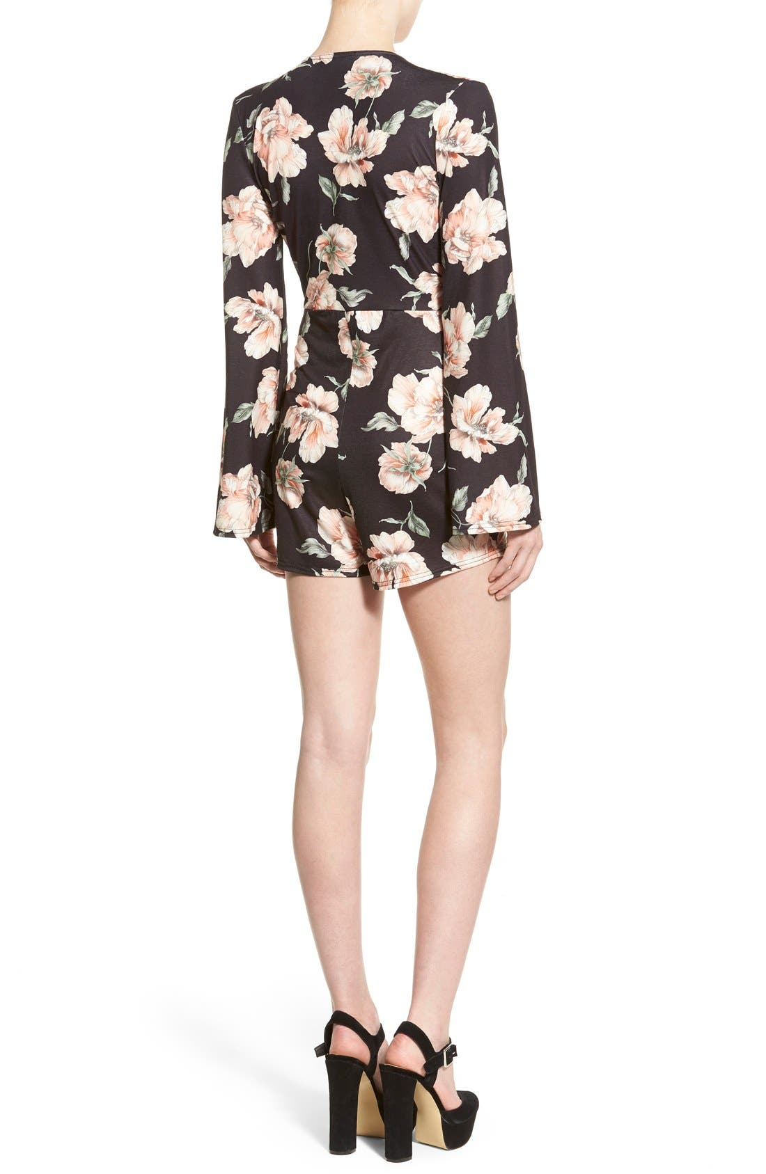 Alternate Image 2  - Missguided Floral Print Plunge Romper