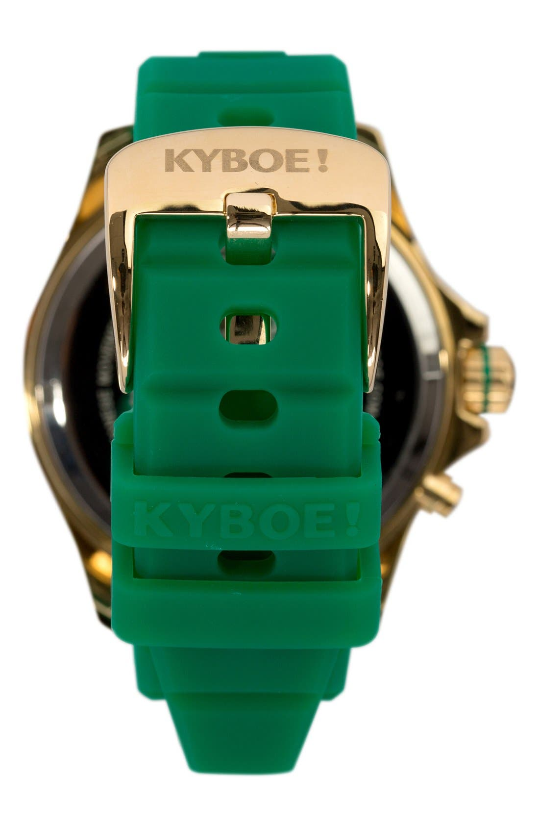 'Emerald' Silicone Strap Watch, 48mm,                             Alternate thumbnail 2, color,                             Emerald/ Gold