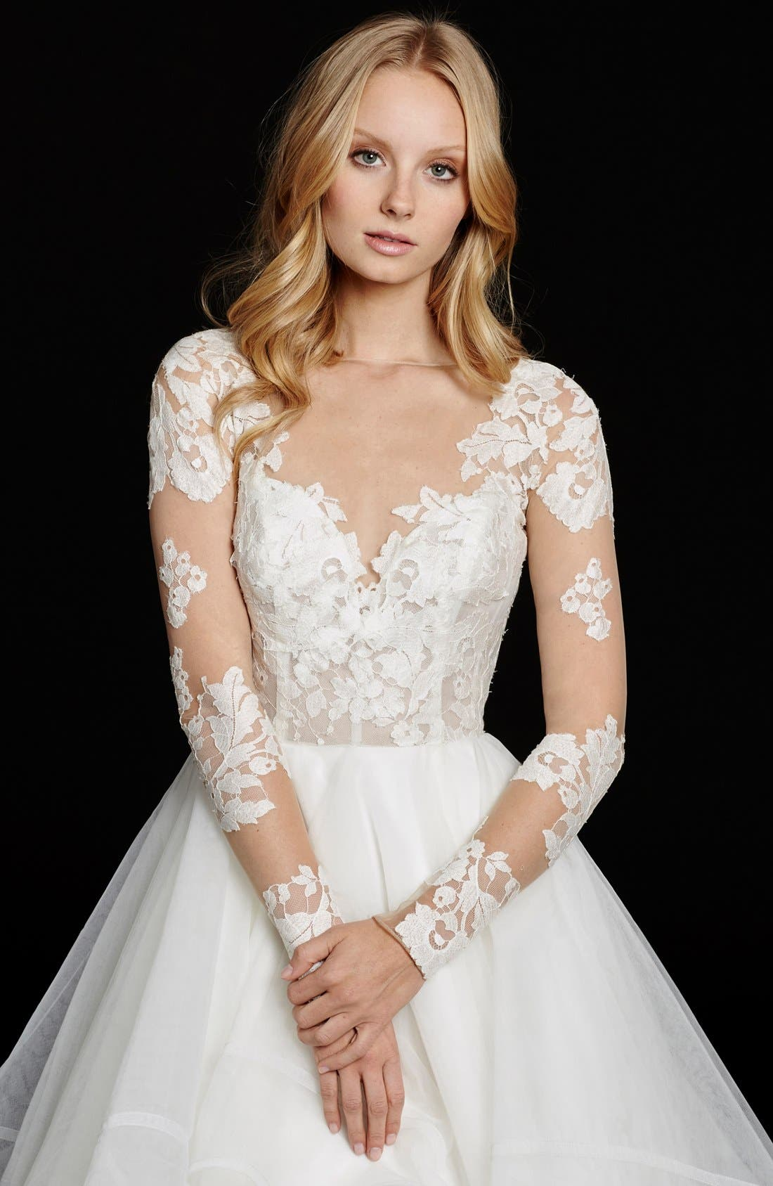 Alternate Image 3  - Hayley Paige 'Elysia' Long Sleeve Lace & Tulle Ballgown (In Stores Only)