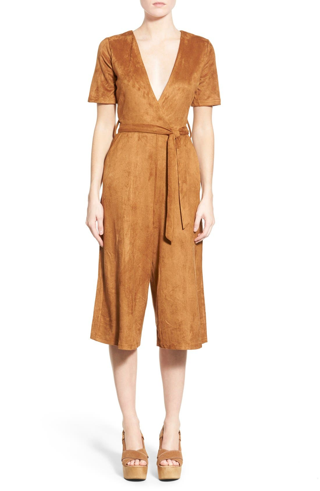 Alternate Image 1 Selected - Missguided Faux Suede Culotte Jumpsuit