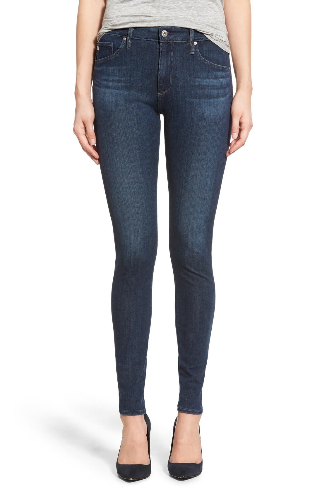 Alternate Image 1 Selected - AG 'The Farrah' High Rise Skinny Jeans (Crater)