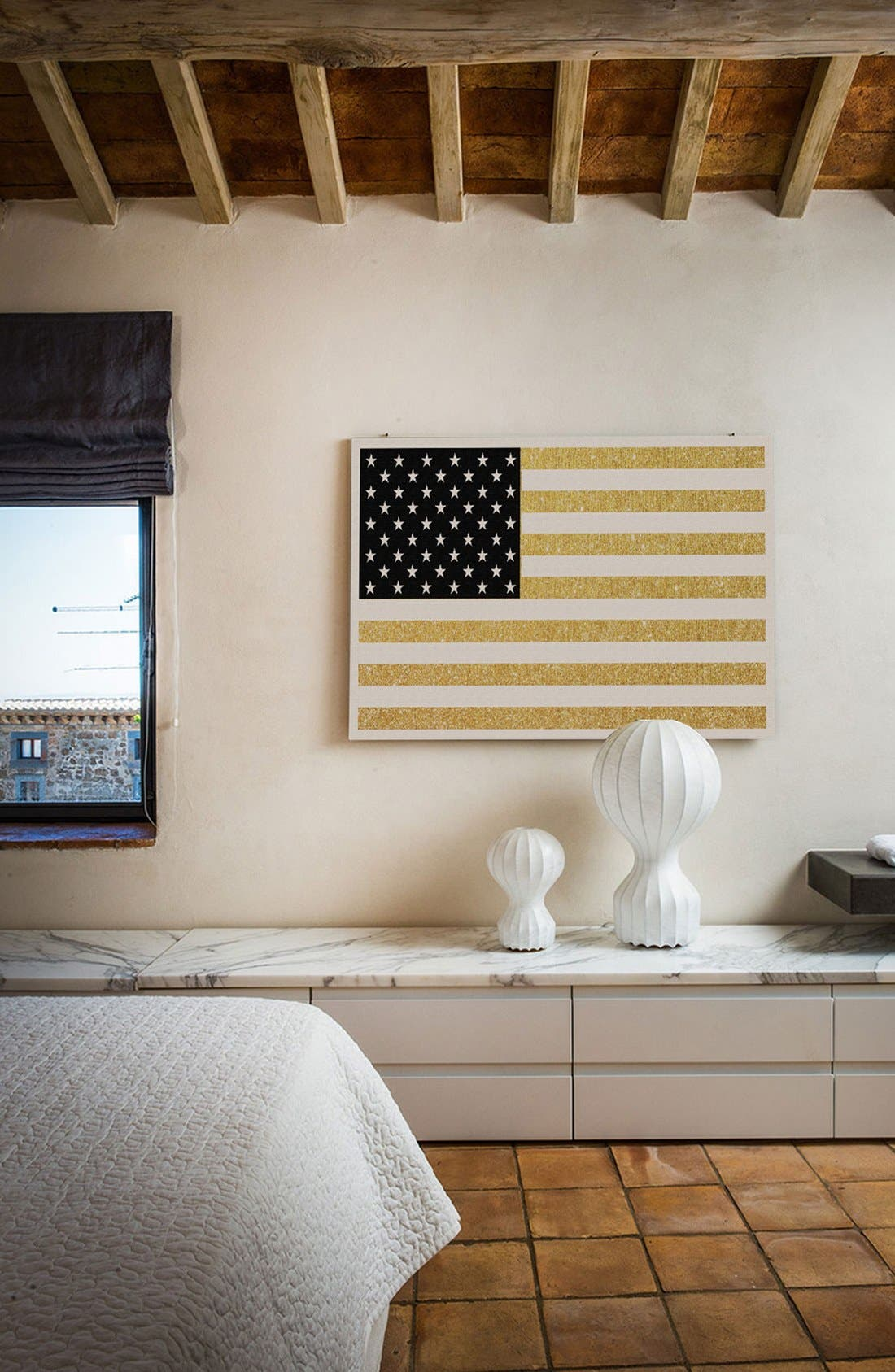 Alternate Image 2  - iCanvas 'Gold Flag I' Giclée Print Canvas Art