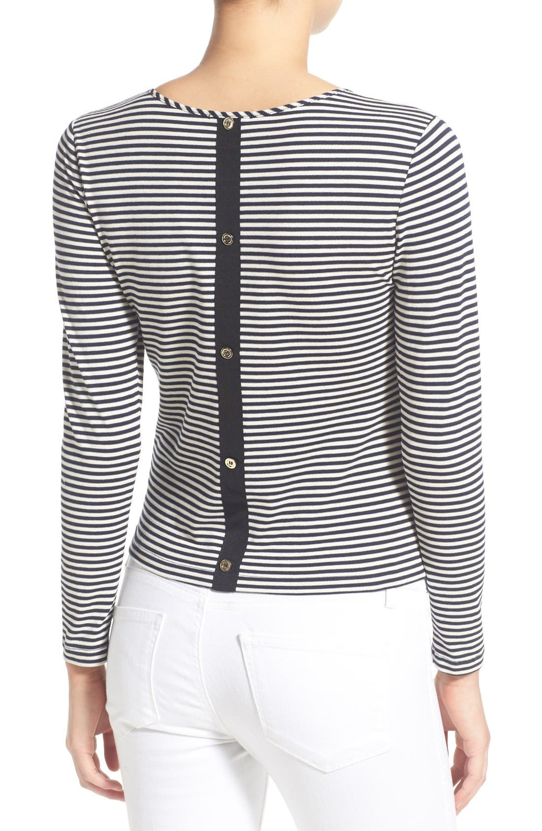 Stripe Button Back Top,                             Alternate thumbnail 2, color,                             Navy Waffle Stripe
