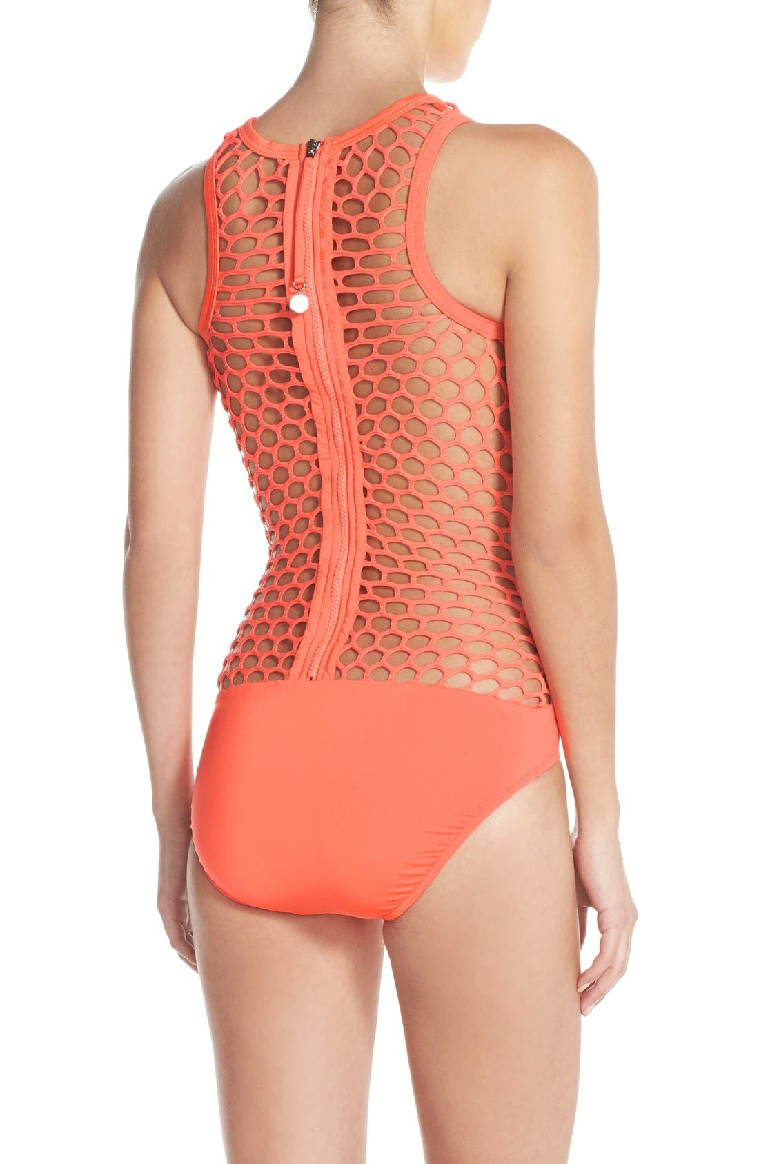 Alternate Image 2  - Seafolly 'Mesh About' High Neck One-Piece Swimsuit