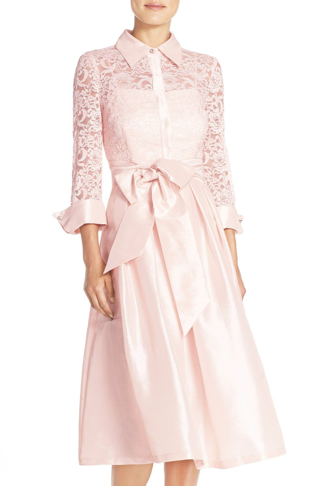 Belted Lace & Taffeta Point Collar Midi Dress,                             Alternate thumbnail 4, color,                             Blush
