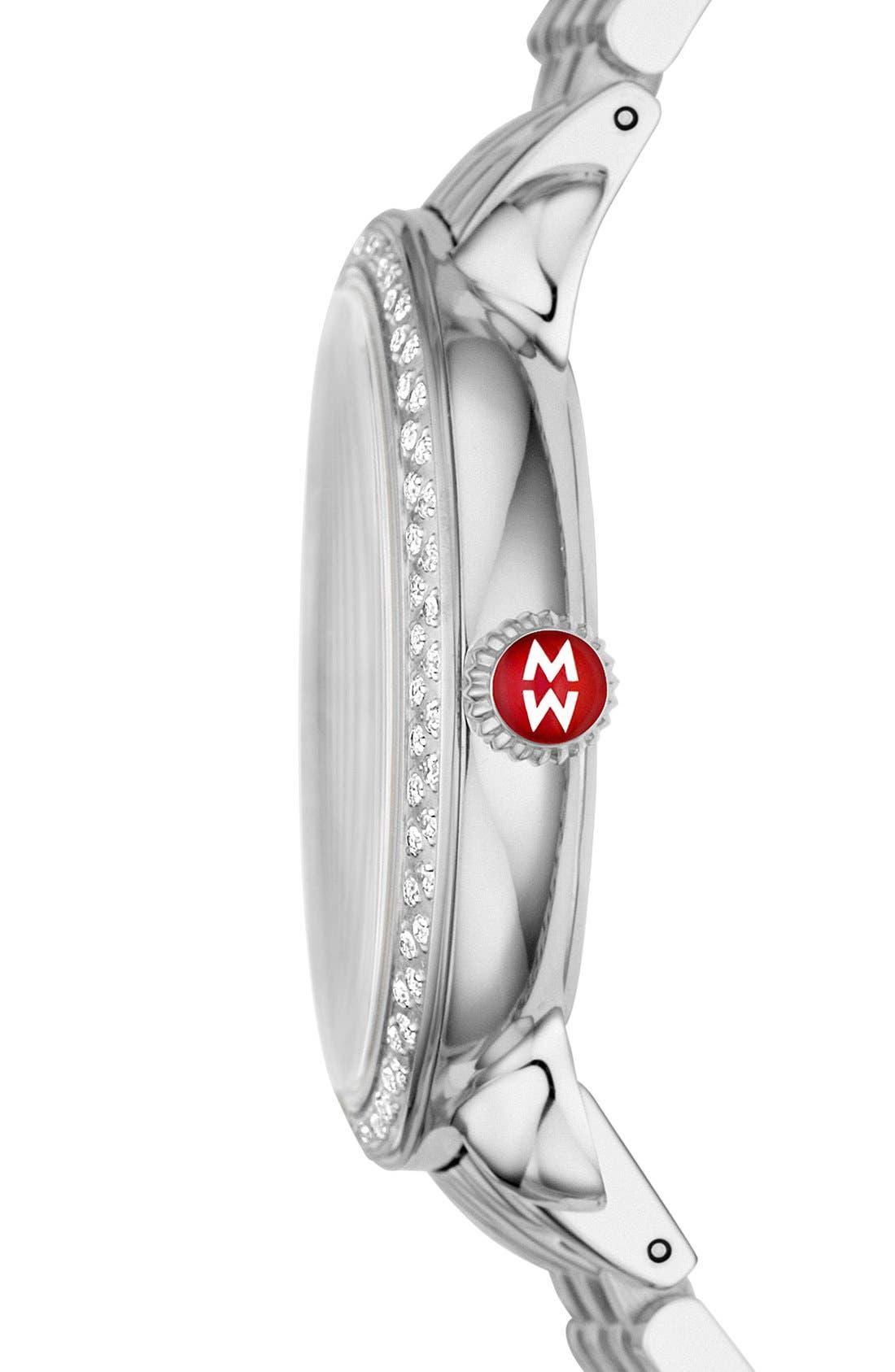 Serein 16 Diamond Watch Case, 34mm x 36mm,                             Alternate thumbnail 3, color,                             Silver/ Silver