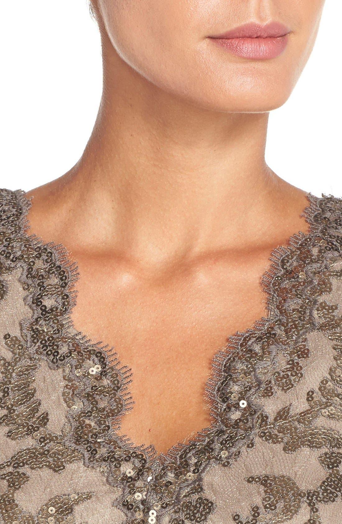 Alternate Image 4  - Tadashi Shoji Sequin Lace Gown (Regular & Petite)