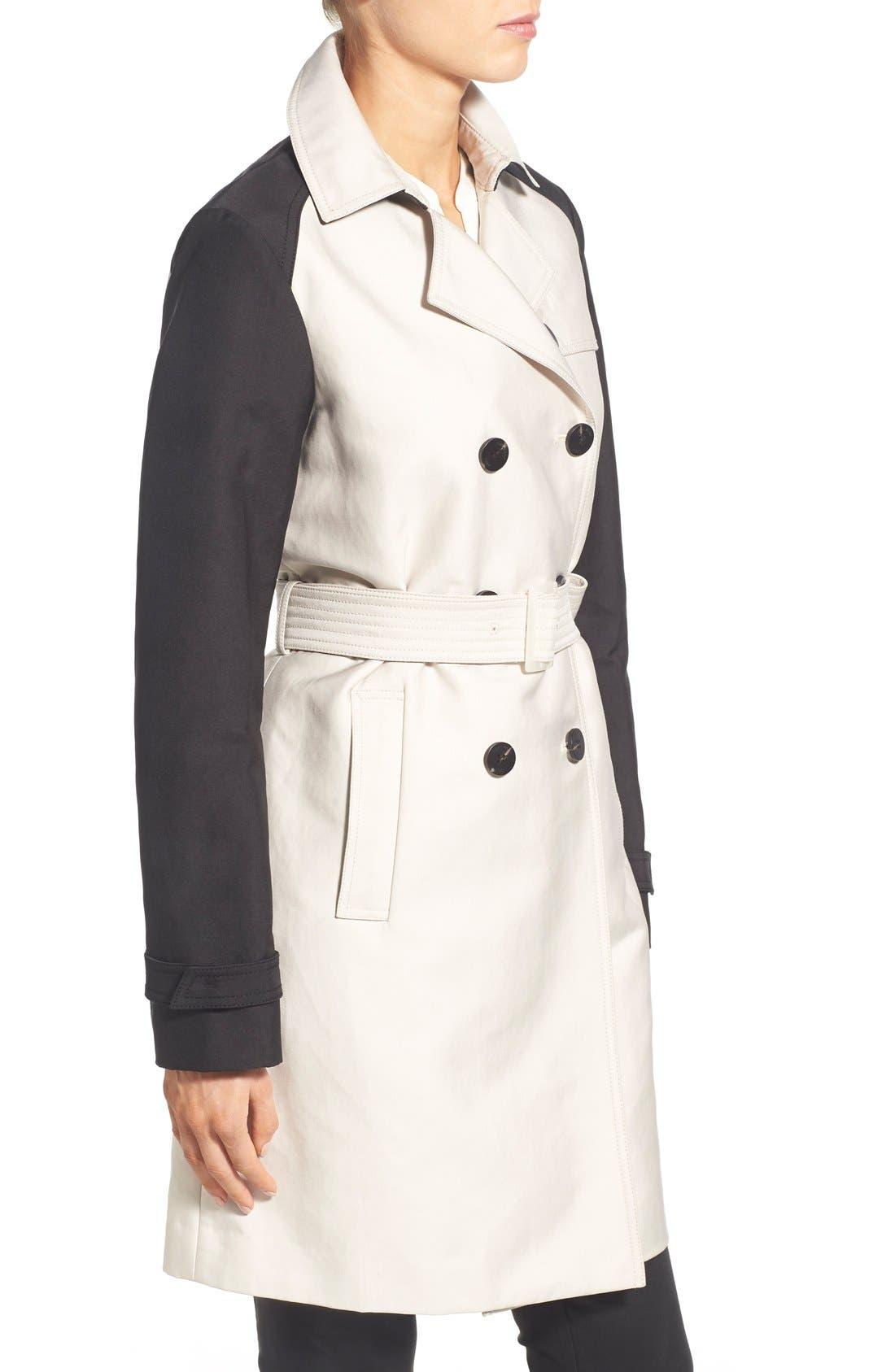 Alternate Image 3  - Vera Wang Contrast Sleeve Trench Coat