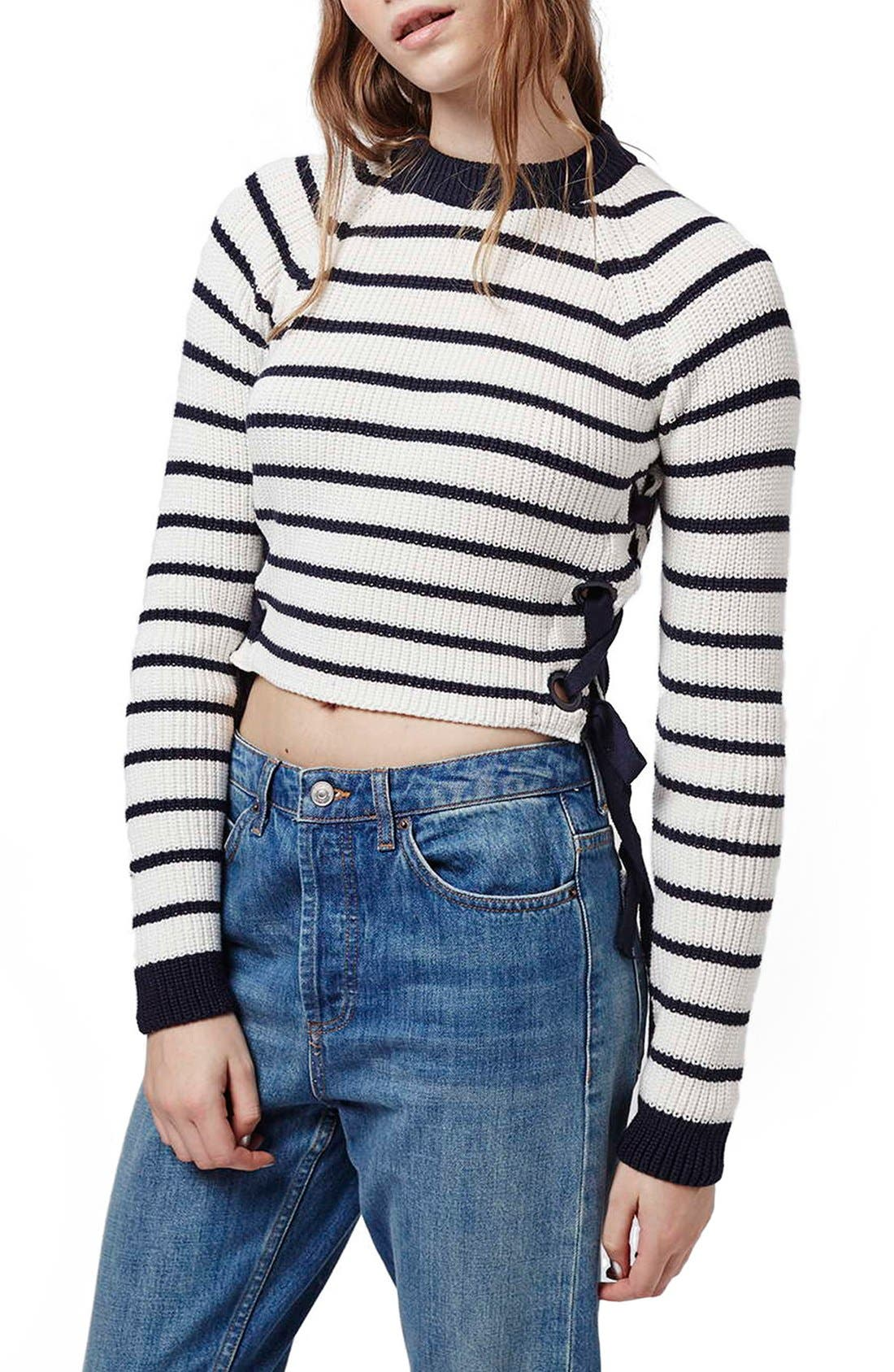 Alternate Image 1 Selected - Topshop Lace-Up Crop Sweater