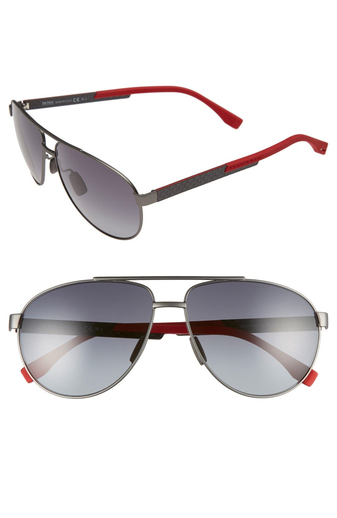 63mm Aviator Sunglasses,                             Main thumbnail 1, color,                             Red Carbon/ Gray Gradient