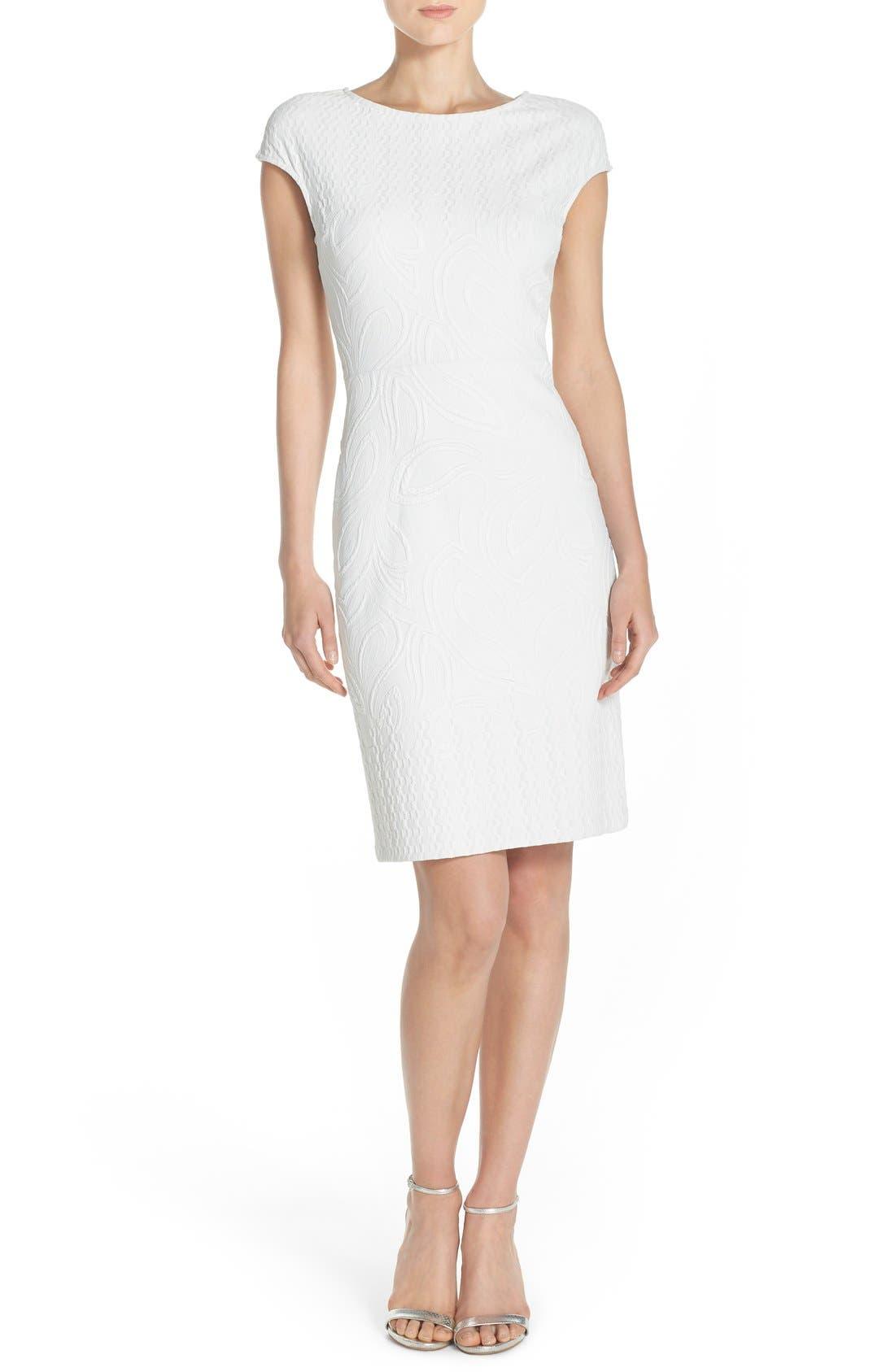 Jacquard Sheath Dress,                             Alternate thumbnail 4, color,                             Ivory