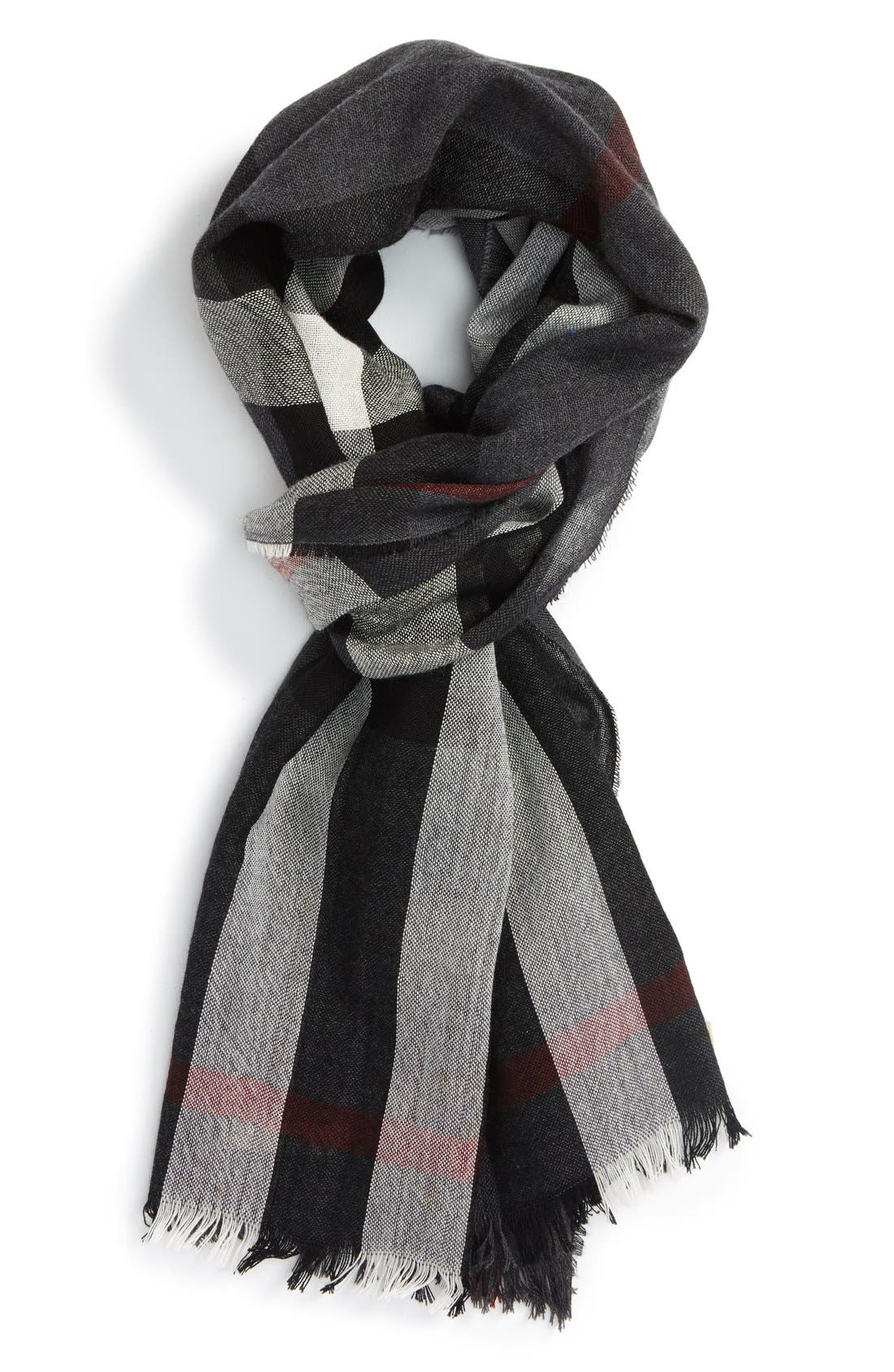 Main Image - Burberry Check Wool & Cashmere Scarf