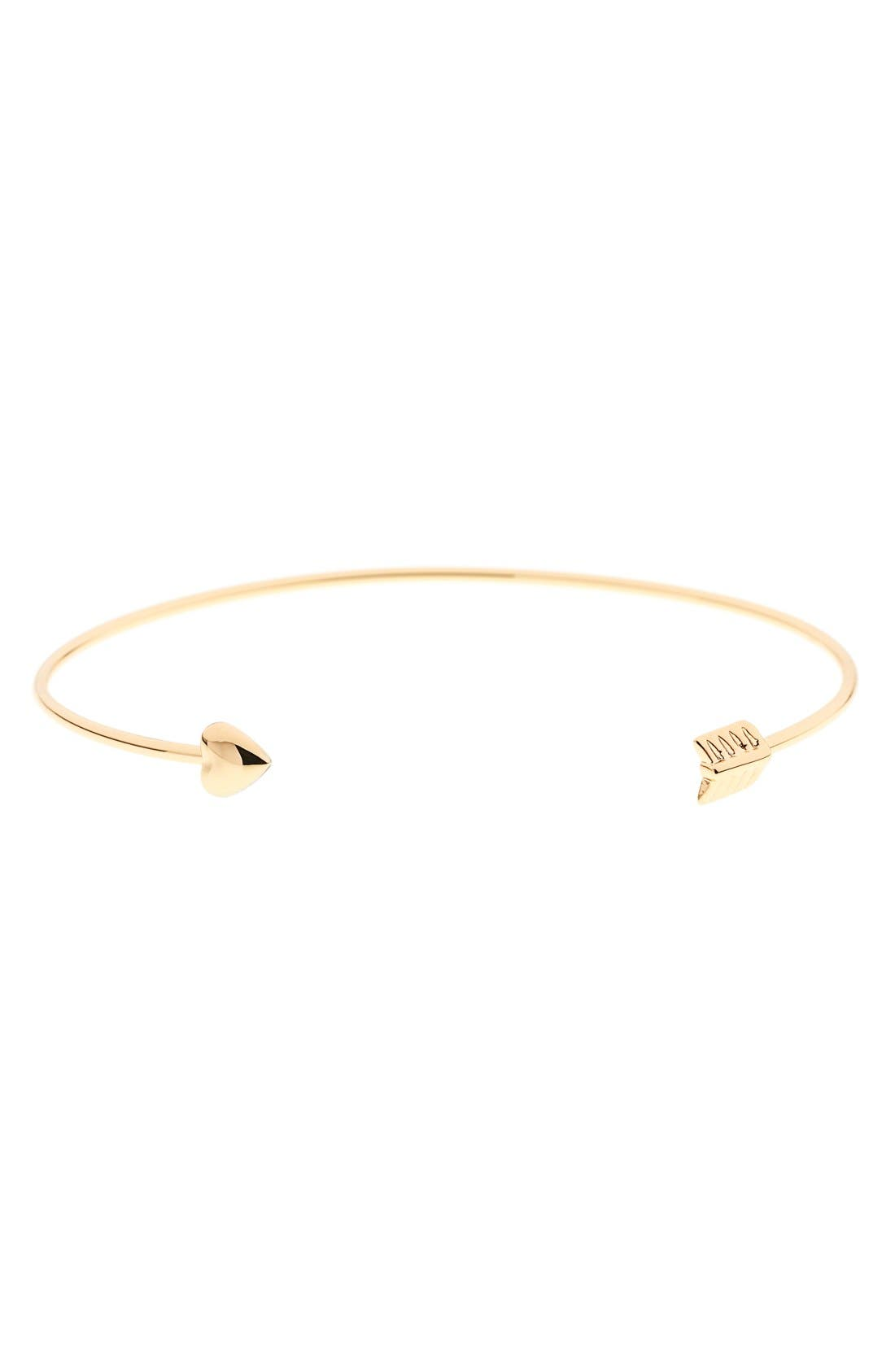 'Cupid's Arrow' Open Cuff,                             Main thumbnail 1, color,                             Gold