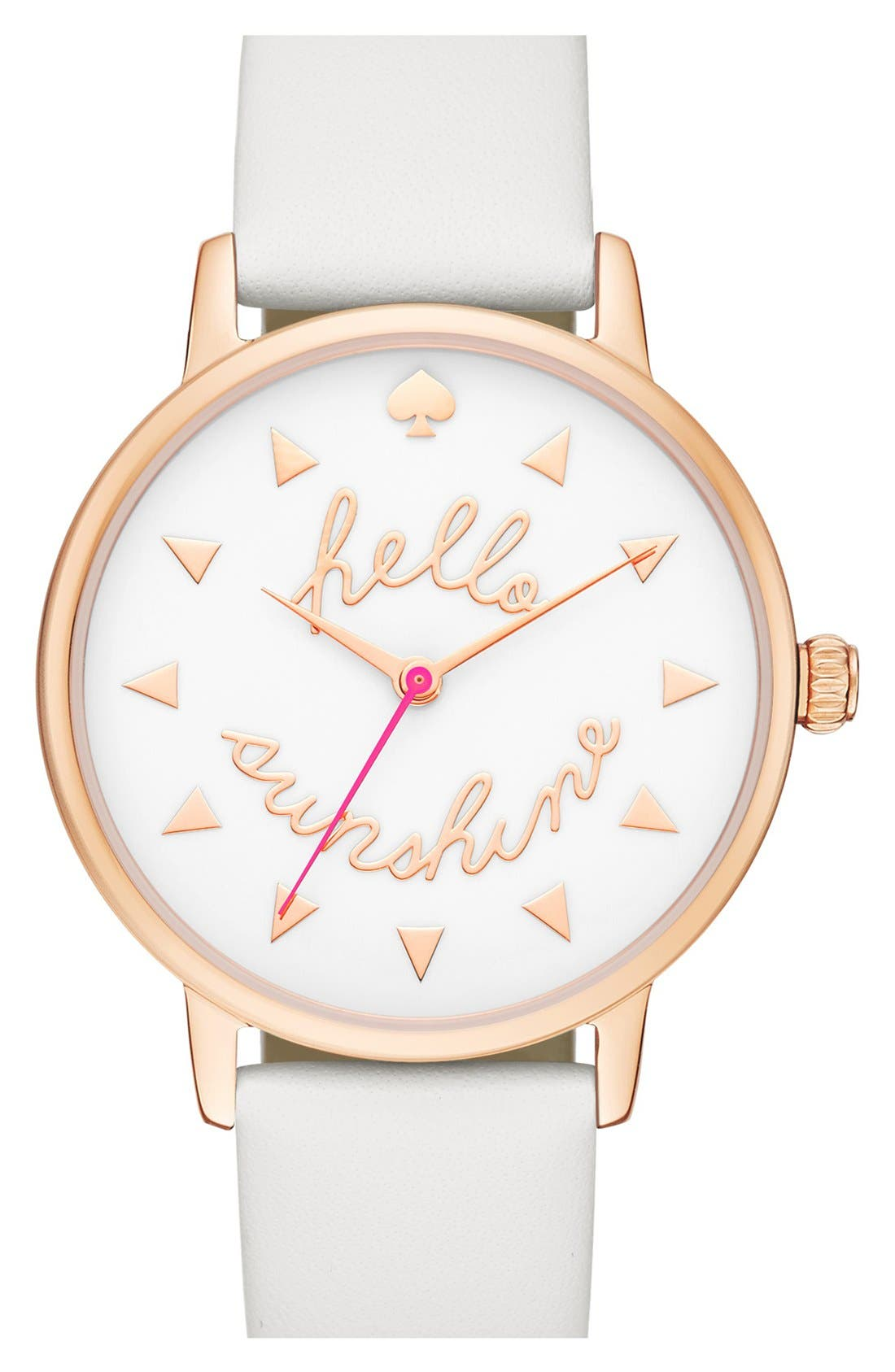 Alternate Image 1 Selected - kate spade new york 'metro - sunshine' leather strap watch, 34mm