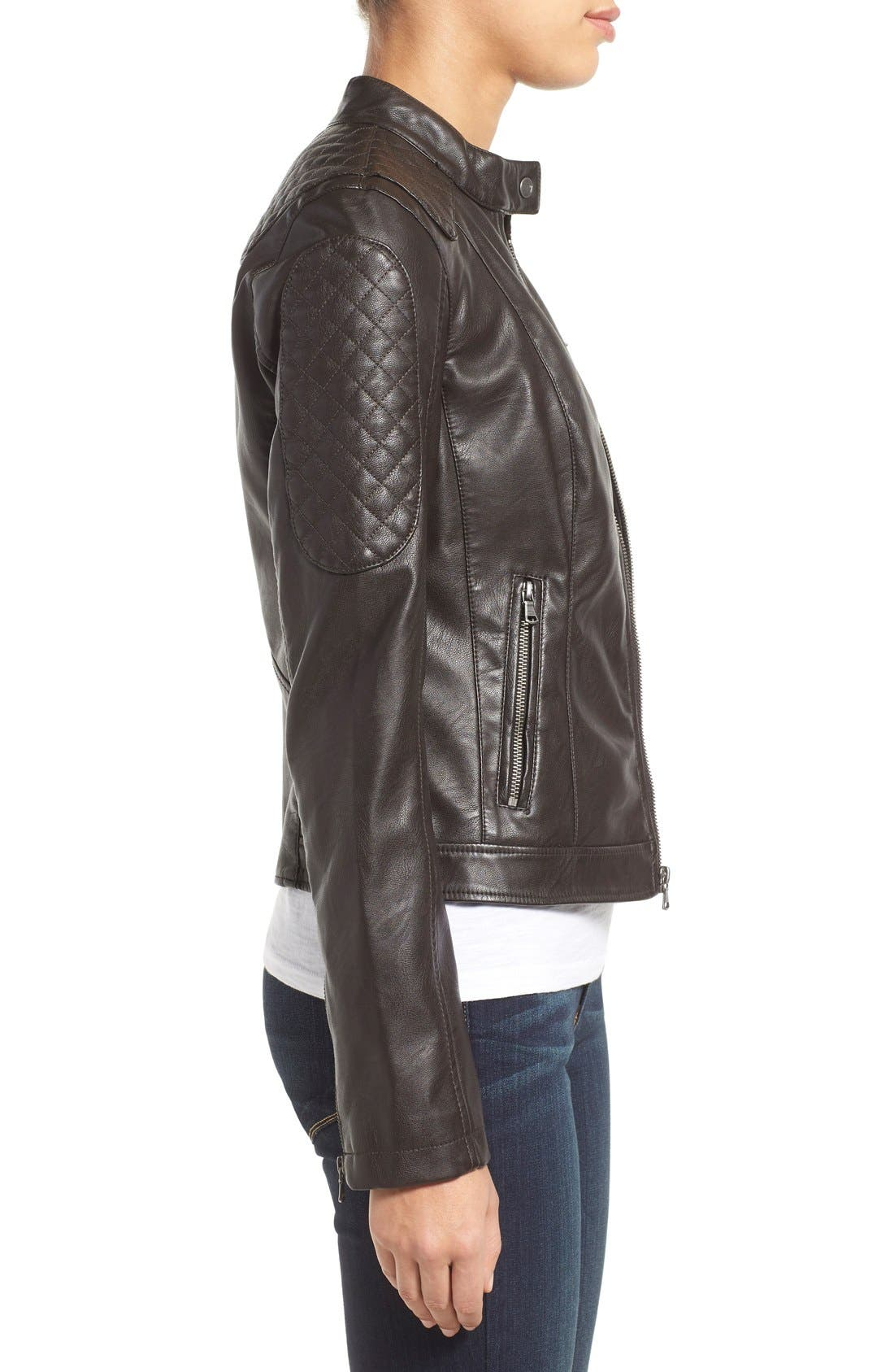 Alternate Image 3  - Levi's® Quilt Detail Faux Leather Racer Jacket