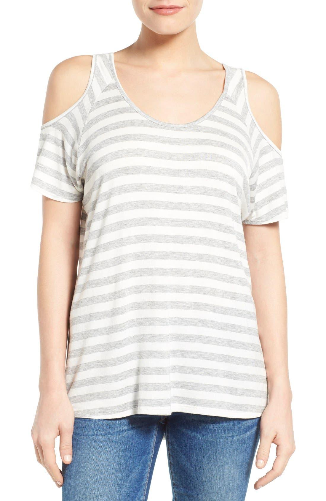 Alternate Image 1 Selected - KUT from the Kloth 'Caroline' Cold Shoulder Stripe Top