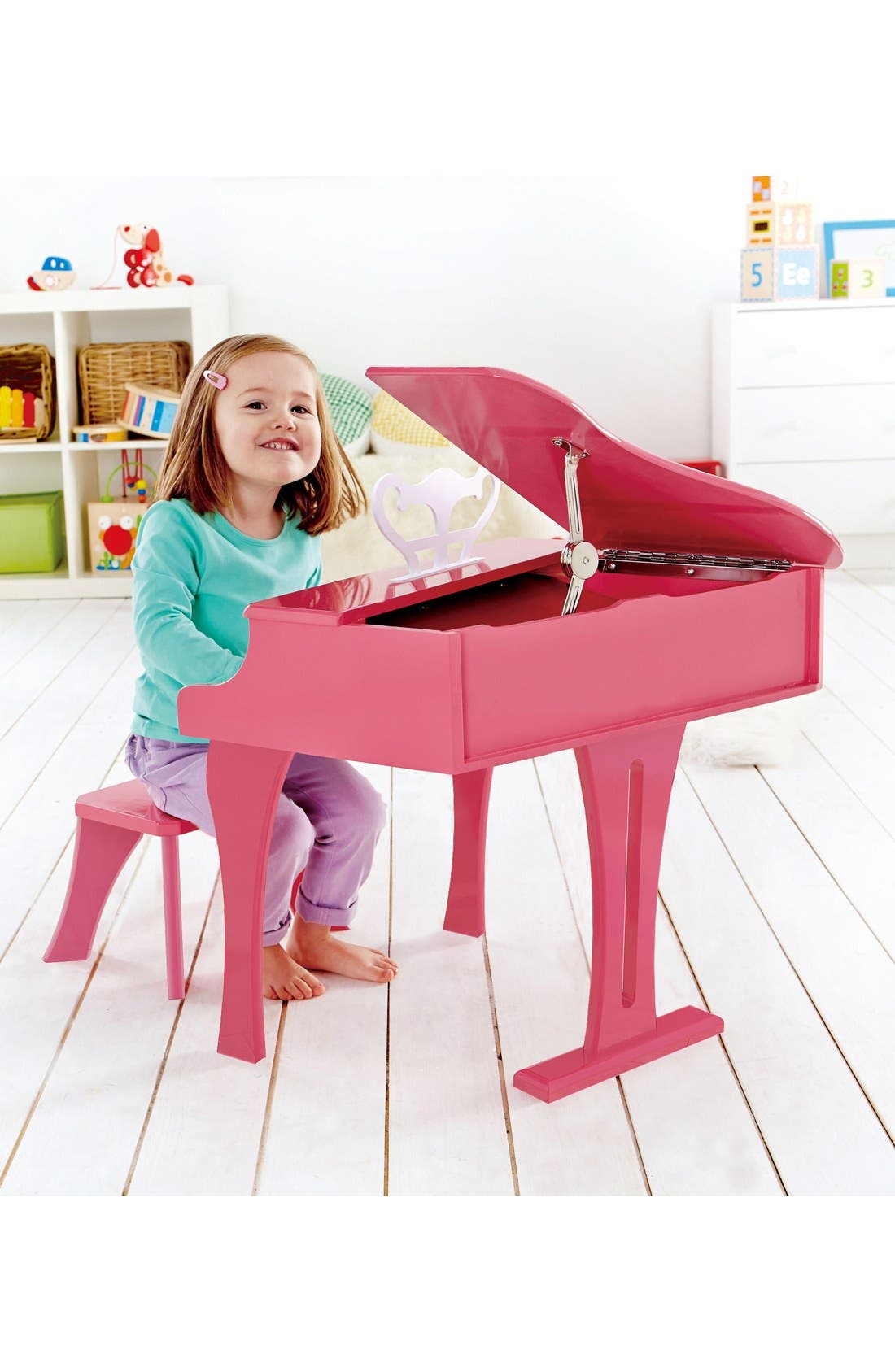 'Happy Grand' Toy Grand Piano & Bench,                             Alternate thumbnail 4, color,                             Pink
