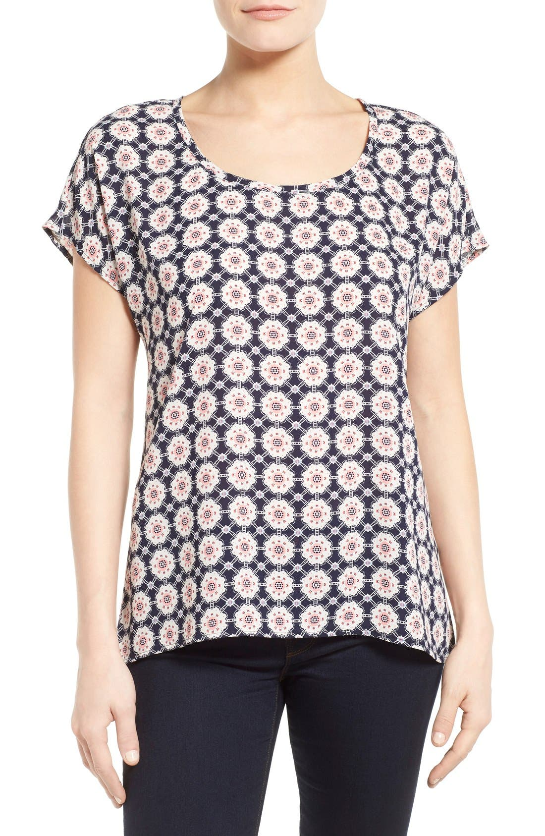 Alternate Image 1 Selected - Pleione Scoop Neck Short Sleeve Blouse (Regular & Petite)
