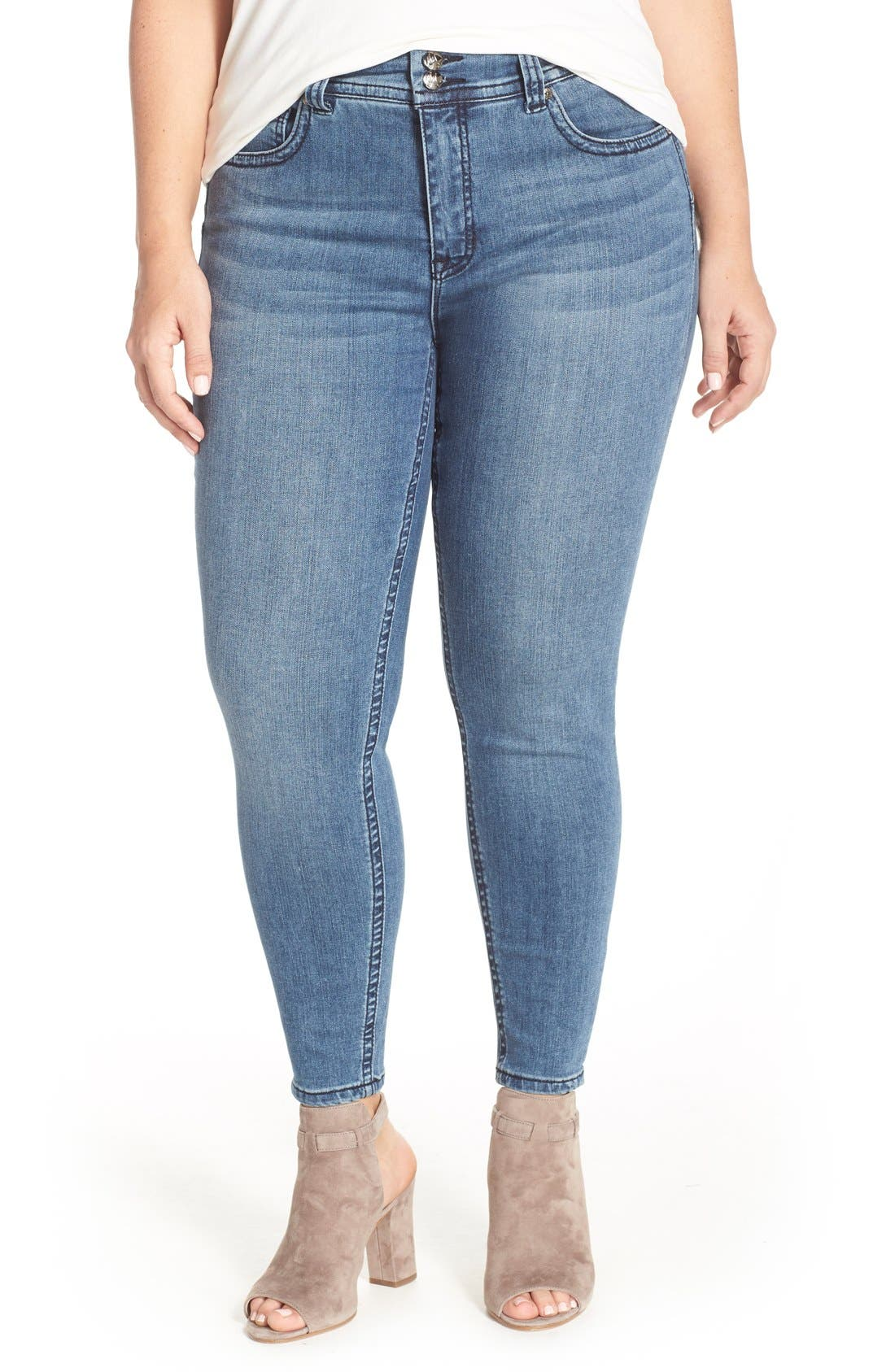 Main Image - Melissa McCarthy Seven7 High Waist Stretch Pencil Jeans (Hampton) (Plus Size)